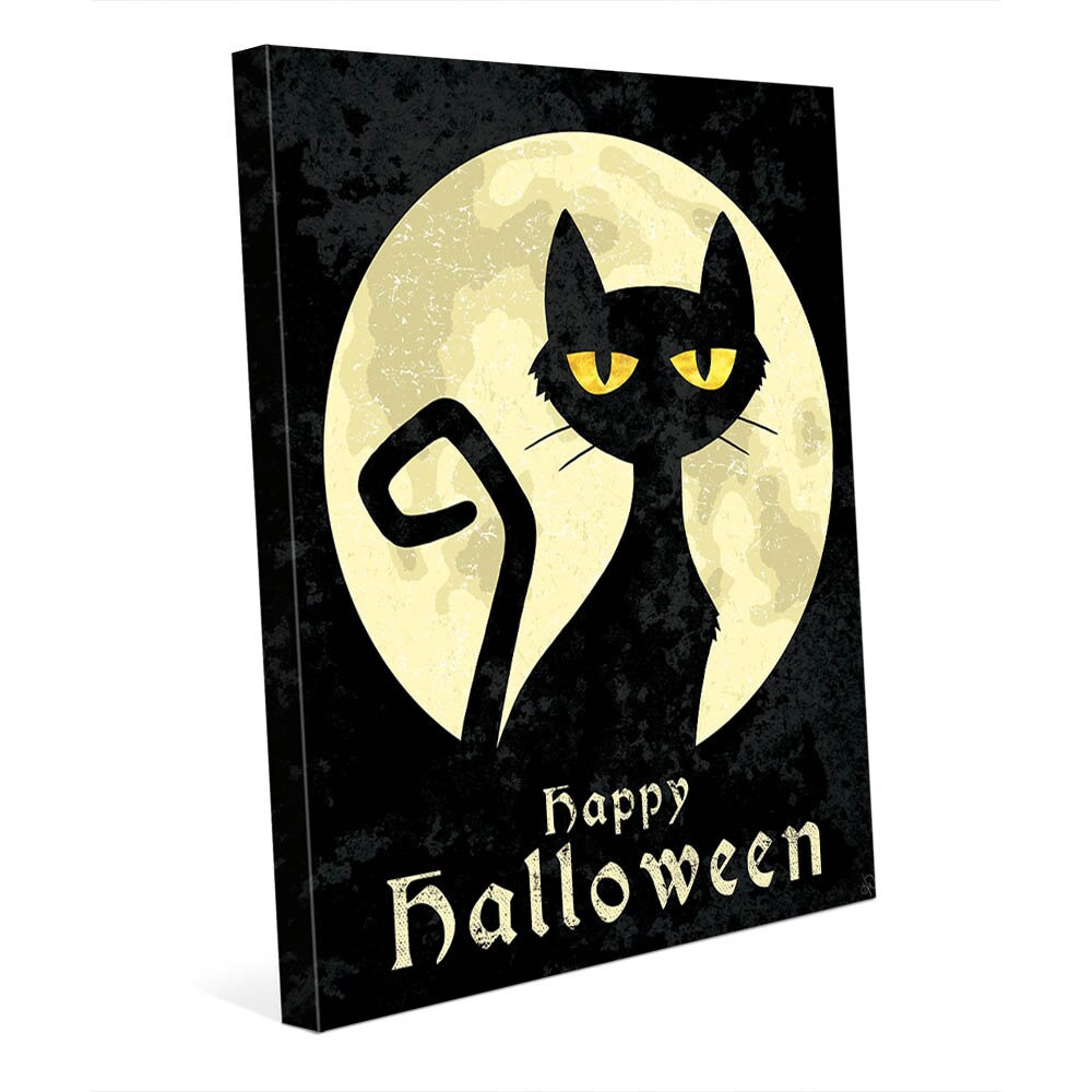 Shop \'Halloween Cat\' Canvas Wall Art - Free Shipping Today ...