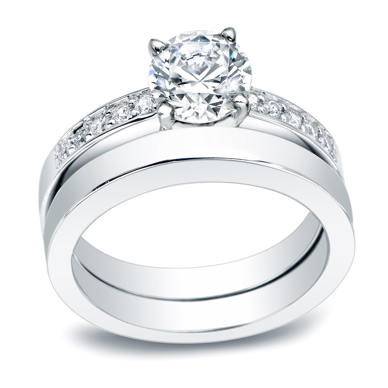 ffb3816ddc28b Auriya Classic 1/2 carat TW Round Diamond Engagement Ring and Wedding Band  Set Platinum