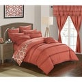 Kyrie Brick Red Ruffled Microfiber 20-Piece Room-In-A-Bag with Sheet Set