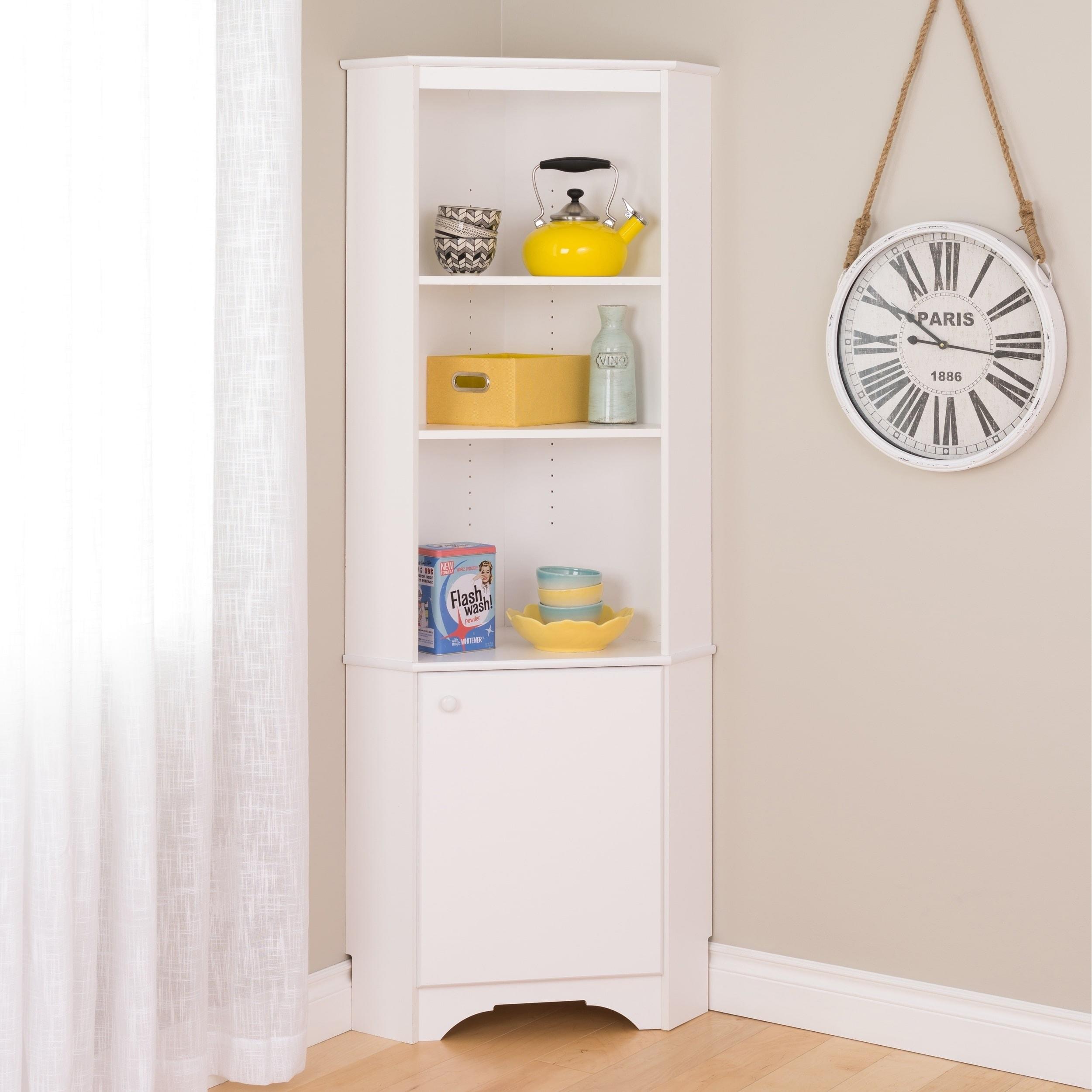 Shop Prepac Elite Winslow White Tall 1 Door Corner Storage Cabinet   Free  Shipping Today   Overstock.com   12833707