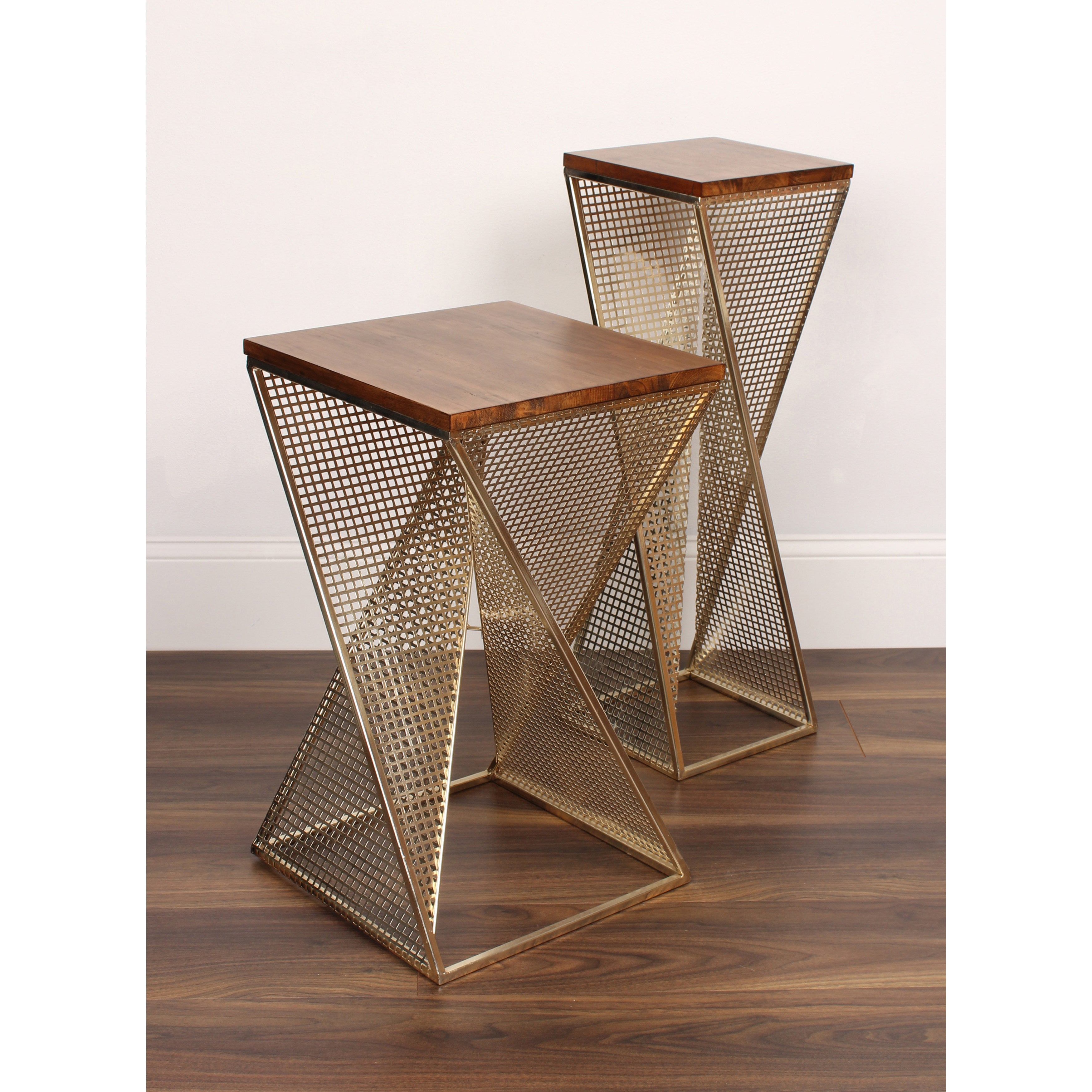 Shop Kate And Laurel Elita Brown/Silver Wood/Metal Accent Table   Free  Shipping Today   Overstock.com   12833986