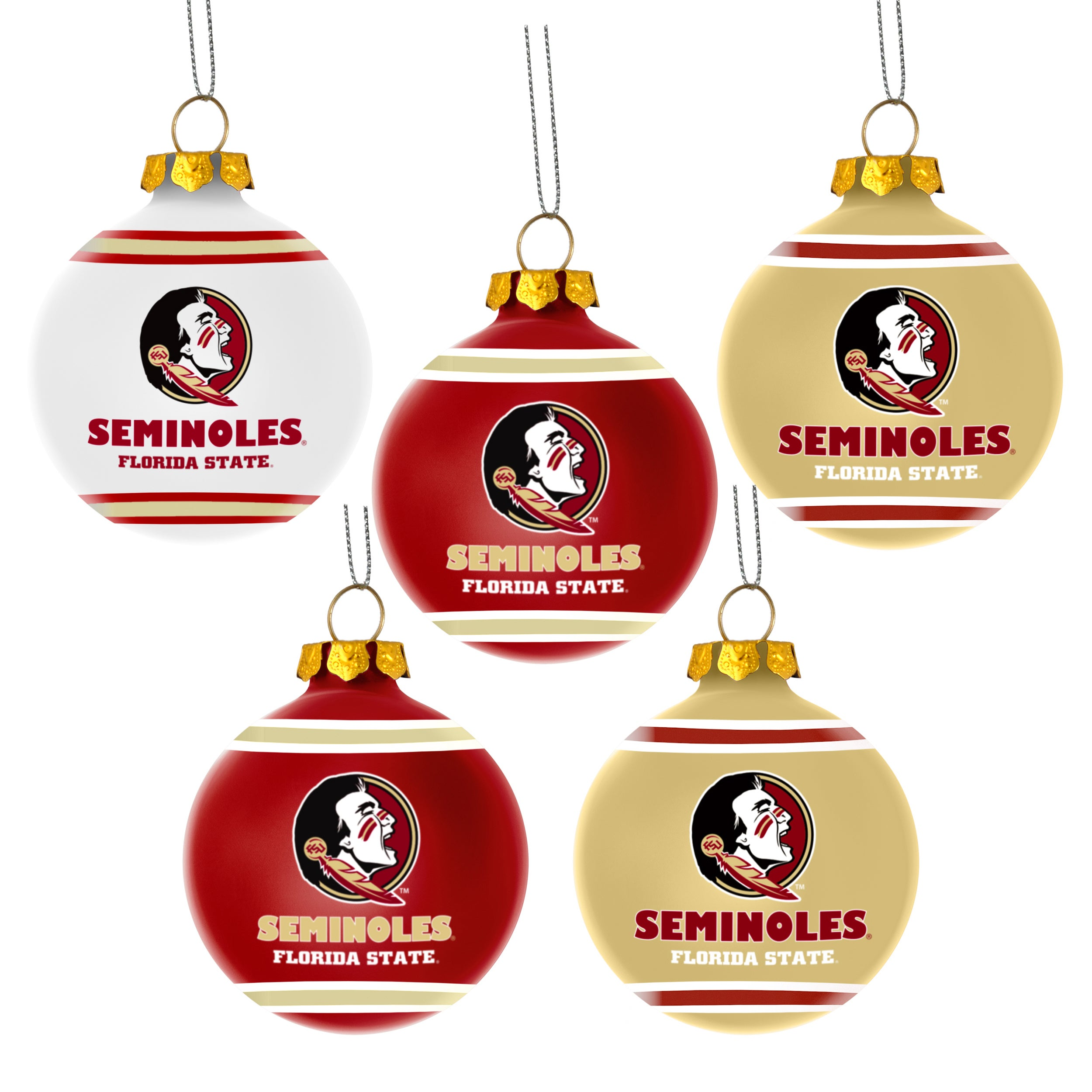 Florida Seminoles NCAA 5 Shatterproof Ball Ornaments - Free Shipping ...