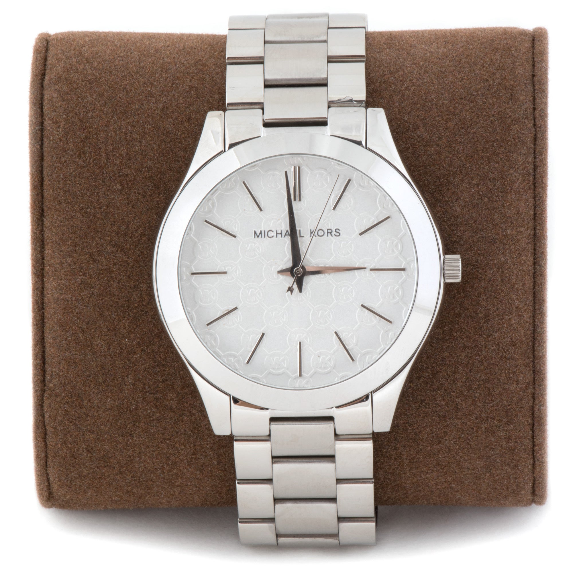 cb32506cd70f Shop Michael Kors Women s  Slim Runway  MK Logo Stainless Steel Watch -  Free Shipping Today - Overstock - 12834898