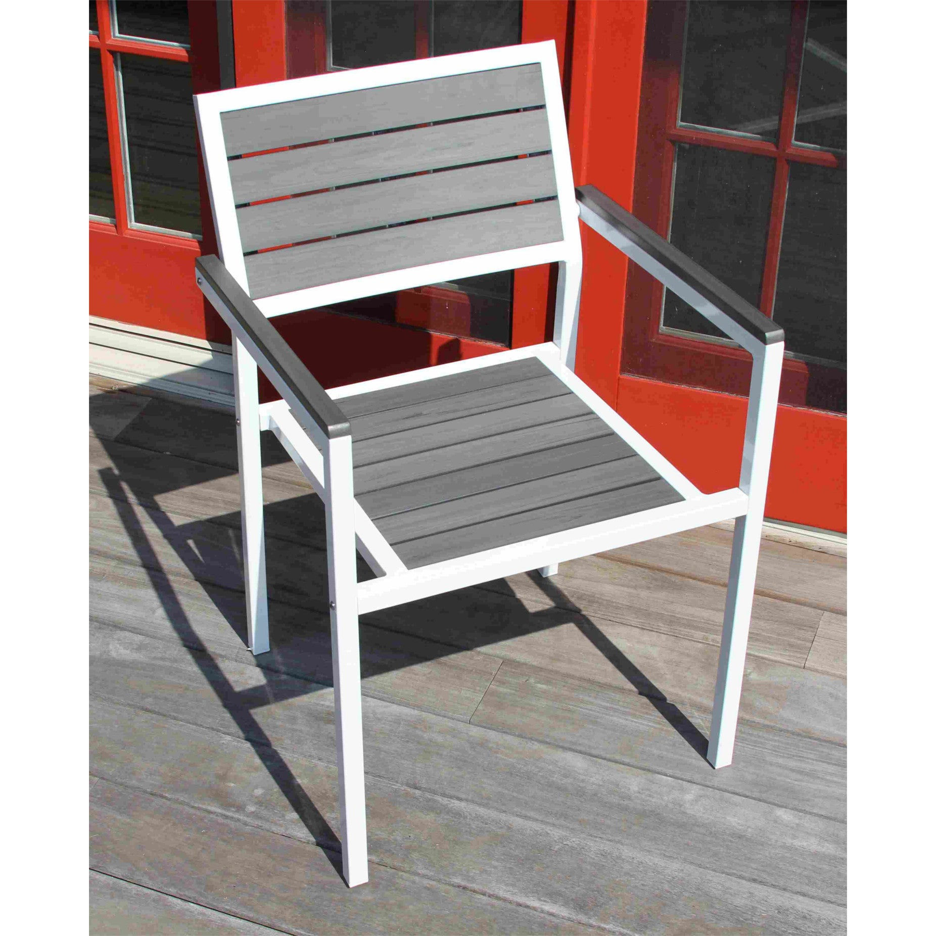 Discontinued Winston Outdoor Powder Coated White Aluminum Grey 5 Piece Dining Set Free Shipping Today 12835938