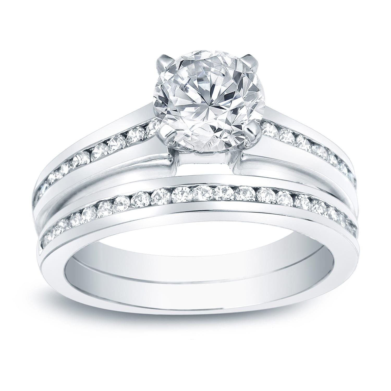 df13f8d0662c9 Auriya 1 1/2cttw Round Diamond Engagement Ring Set Platinum Gold Certified