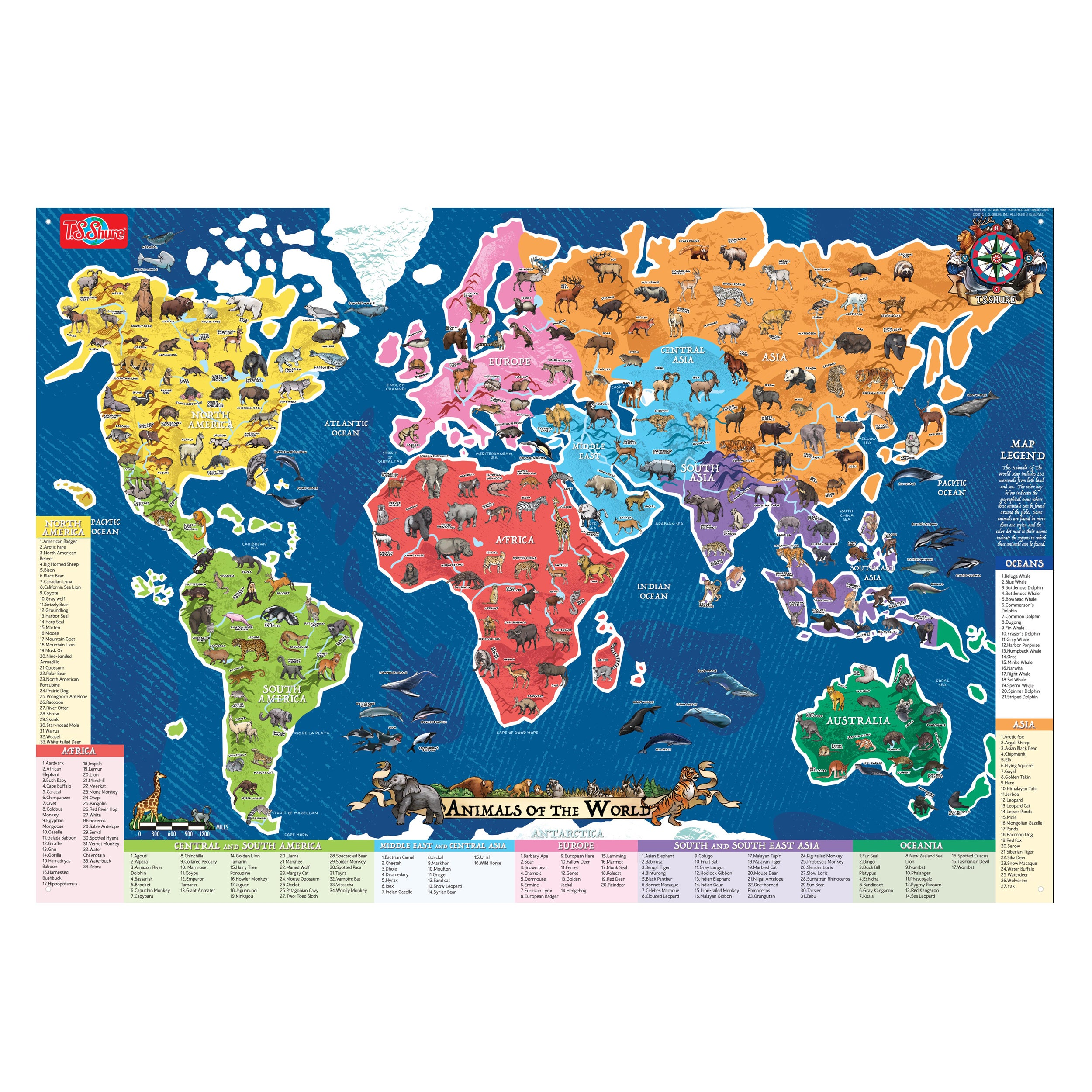 Shop ts shure animals of the world map pictorial poster free shop ts shure animals of the world map pictorial poster free shipping on orders over 45 overstock 12837491 gumiabroncs Choice Image