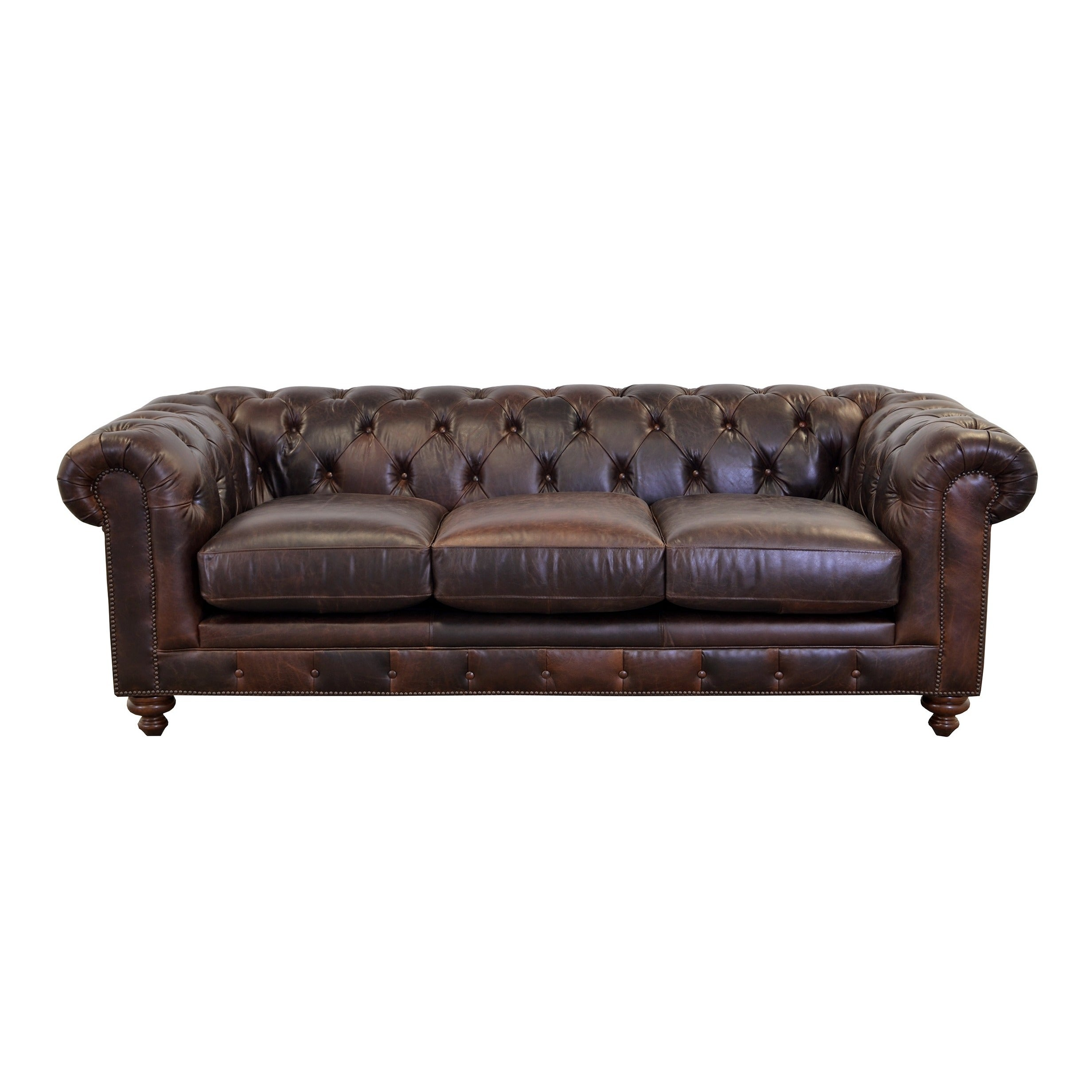 Newbury Top Grain Leather Chesterfield Sofa With On Tufting Free Shipping Today 12838247