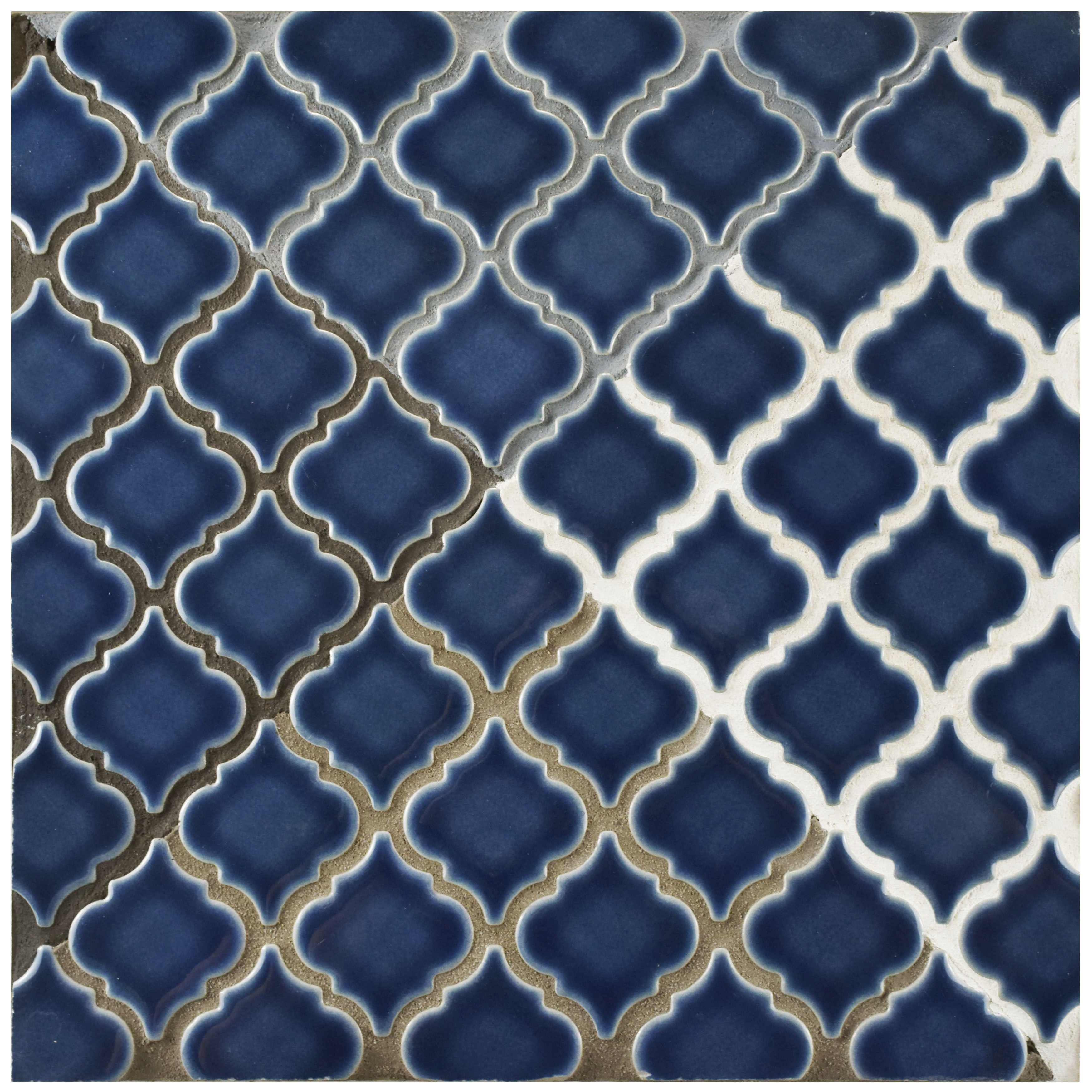SomerTile 12.375x12.5-inch Antaeus Denim Blue Porcelain Mosaic Floor ...