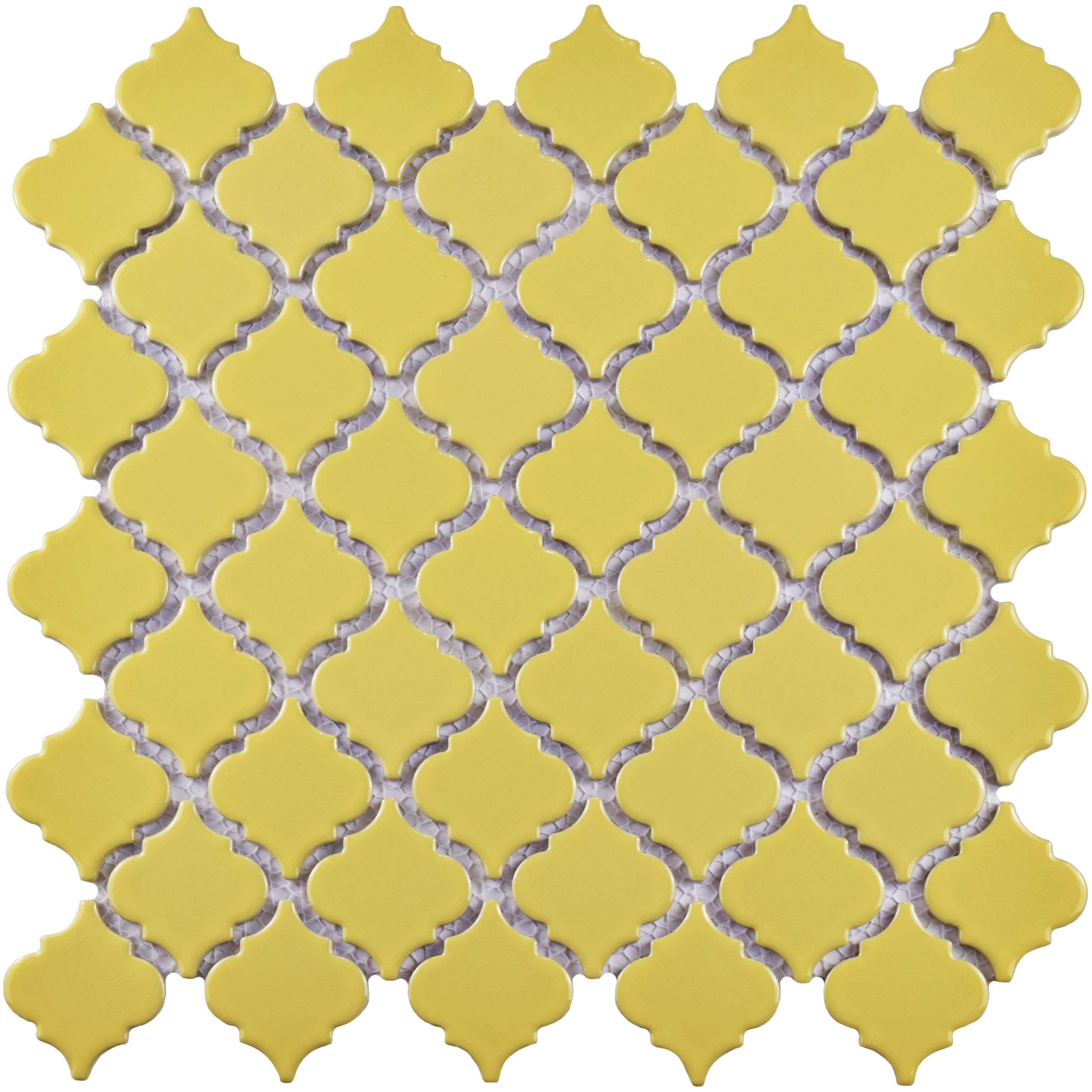 SomerTile 12.375x12.5-inch Antaeus Vintage Yellow Porcelain Mosaic ...