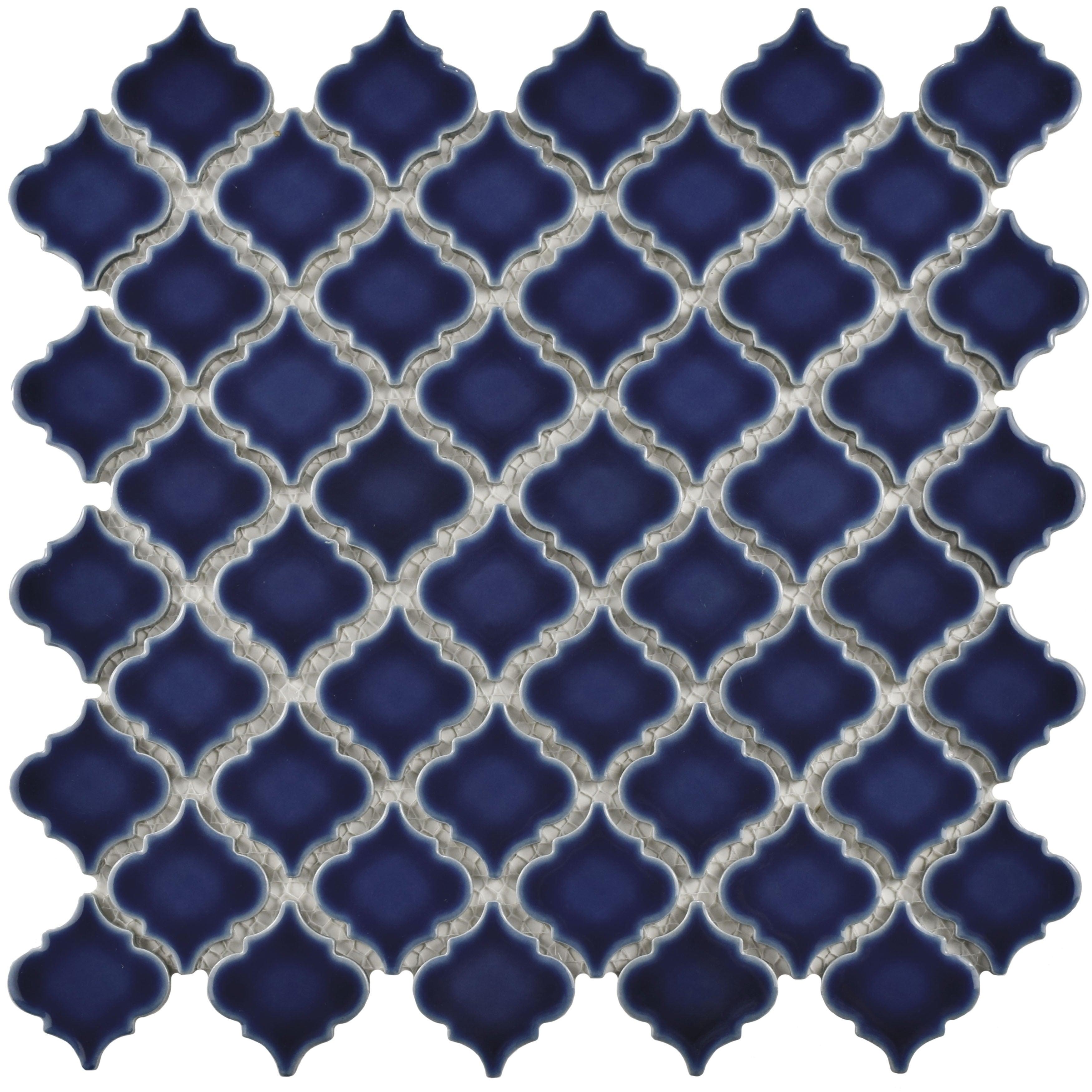SomerTile 12.375x12.5-inch Antaeus Smoky Blue Porcelain Mosaic Floor ...