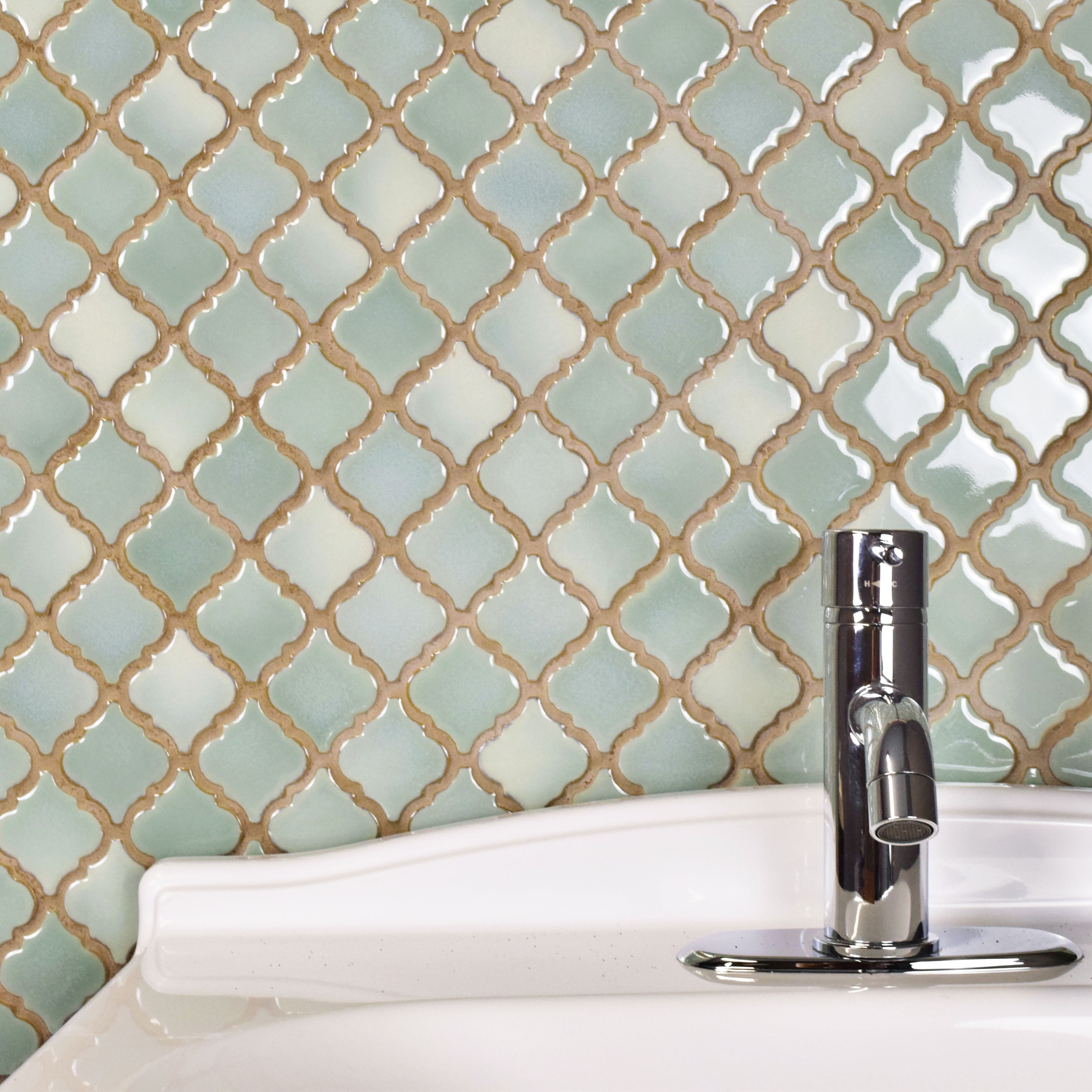 SomerTile 12.375x12.5-inch Antaeus Mint Green Porcelain Mosaic Floor ...