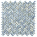 SomerTile 11.625x11.625-inch Samoan Herringbone Neptune Blue Porcelain Mosaic Floor and Wall Tile (1