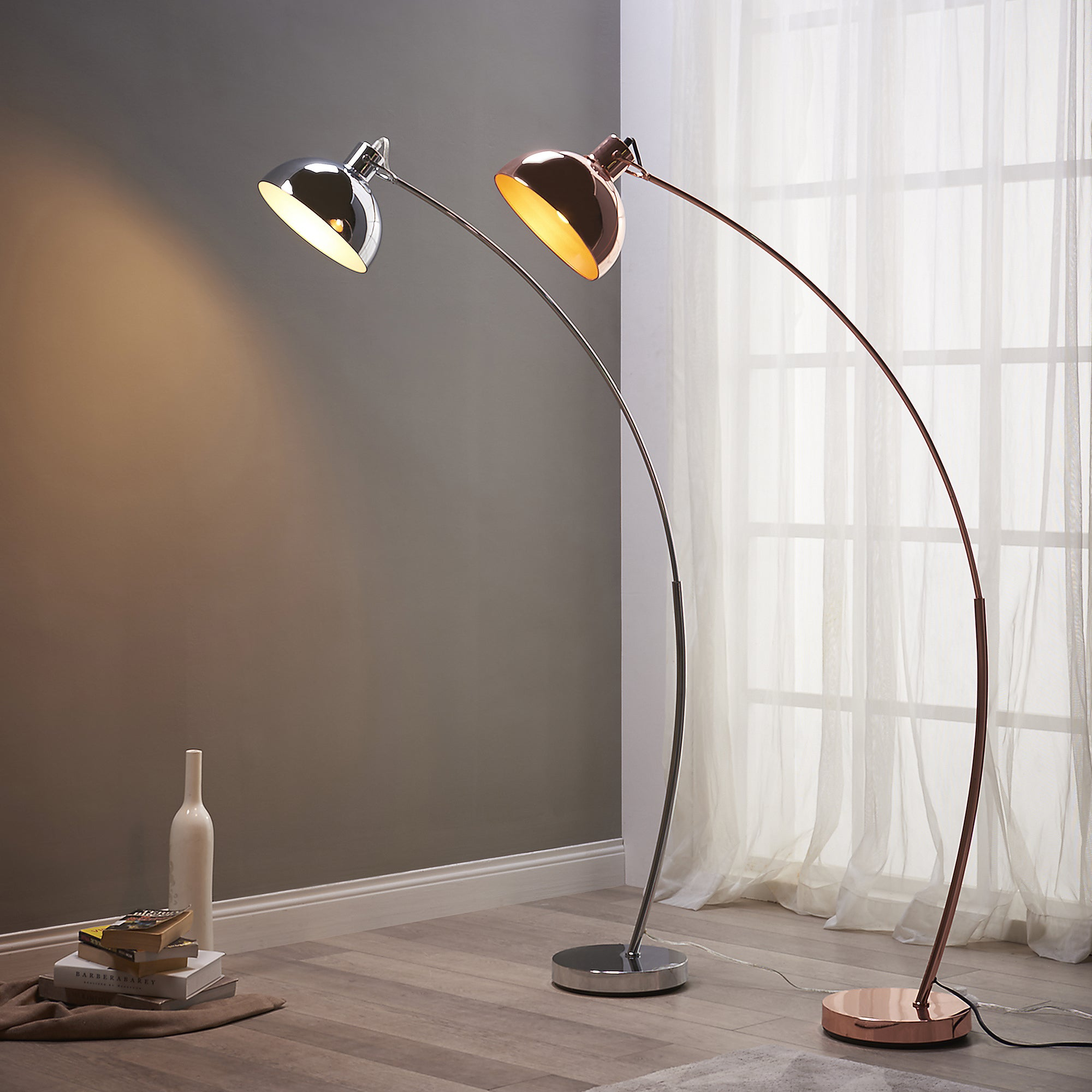 Versanora - Arco Gold Rose Copper/Metal/PVC/Plastic Floor Lamp ...
