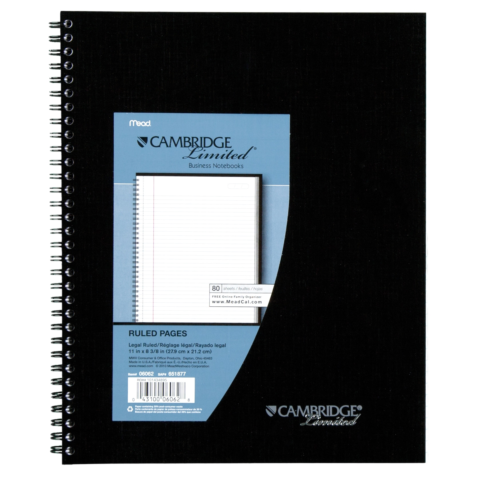 Meadwestvaco 06062 11 X 8 1 2 Black Legal Ruled Cambridge Limited Notebook Free Shipping Today 12839131