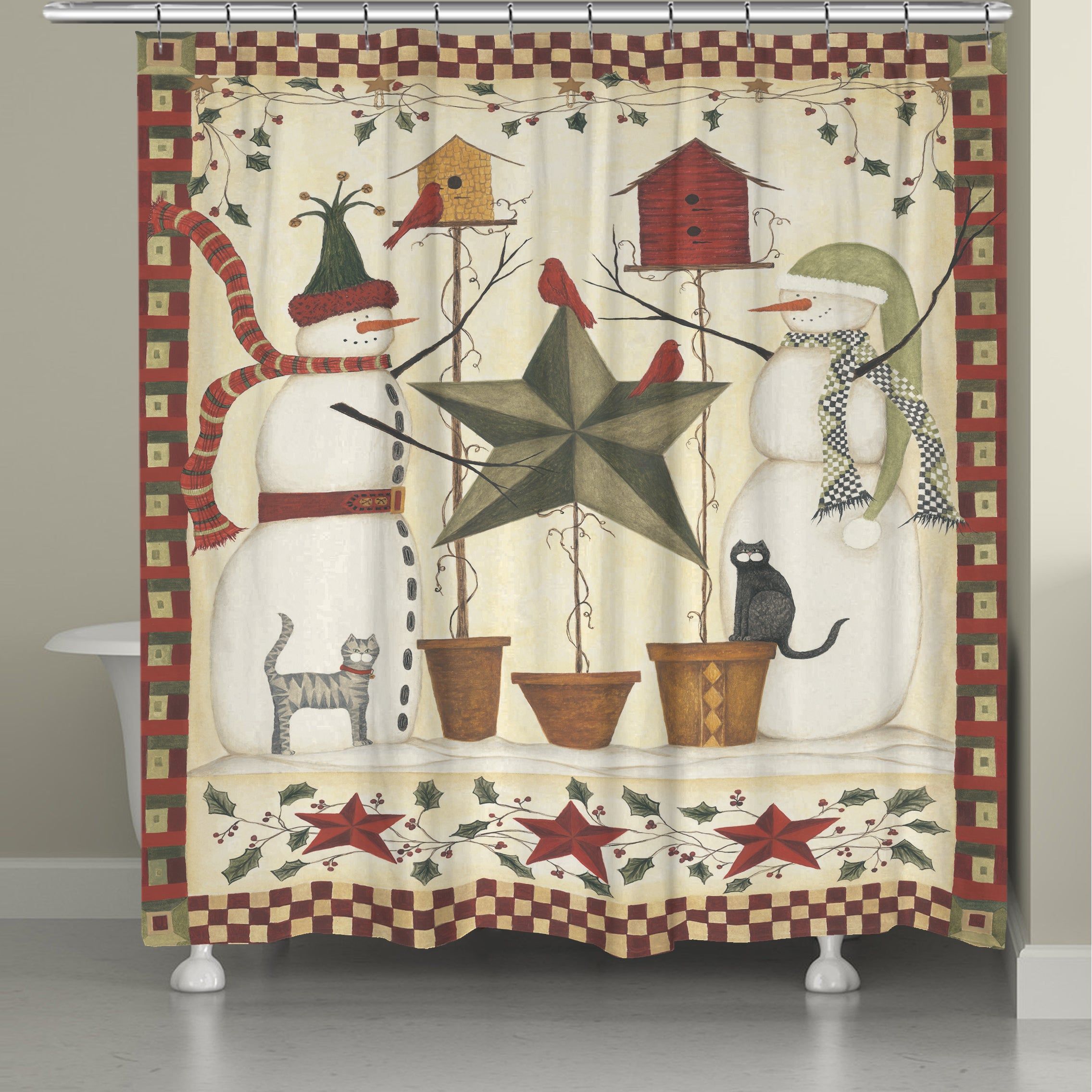 Shop Laural Home Snowmen Shower Curtain - Free Shipping Today ...