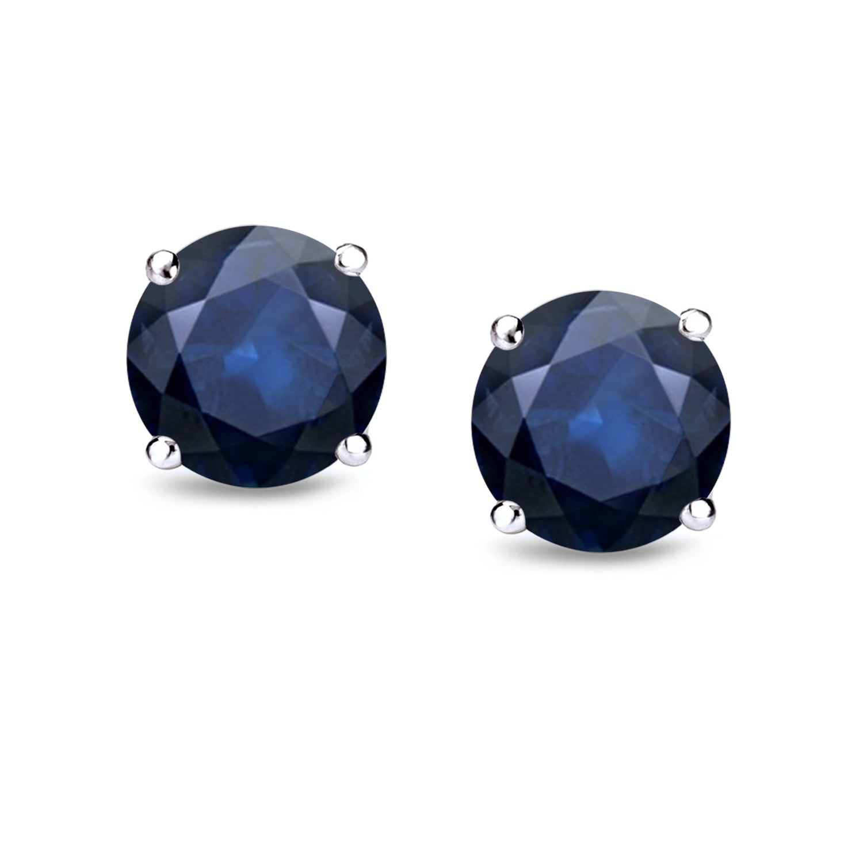 Auriya 14k Gold 3 4ct TW Bezel Set Round Sapphire Stud Earrings