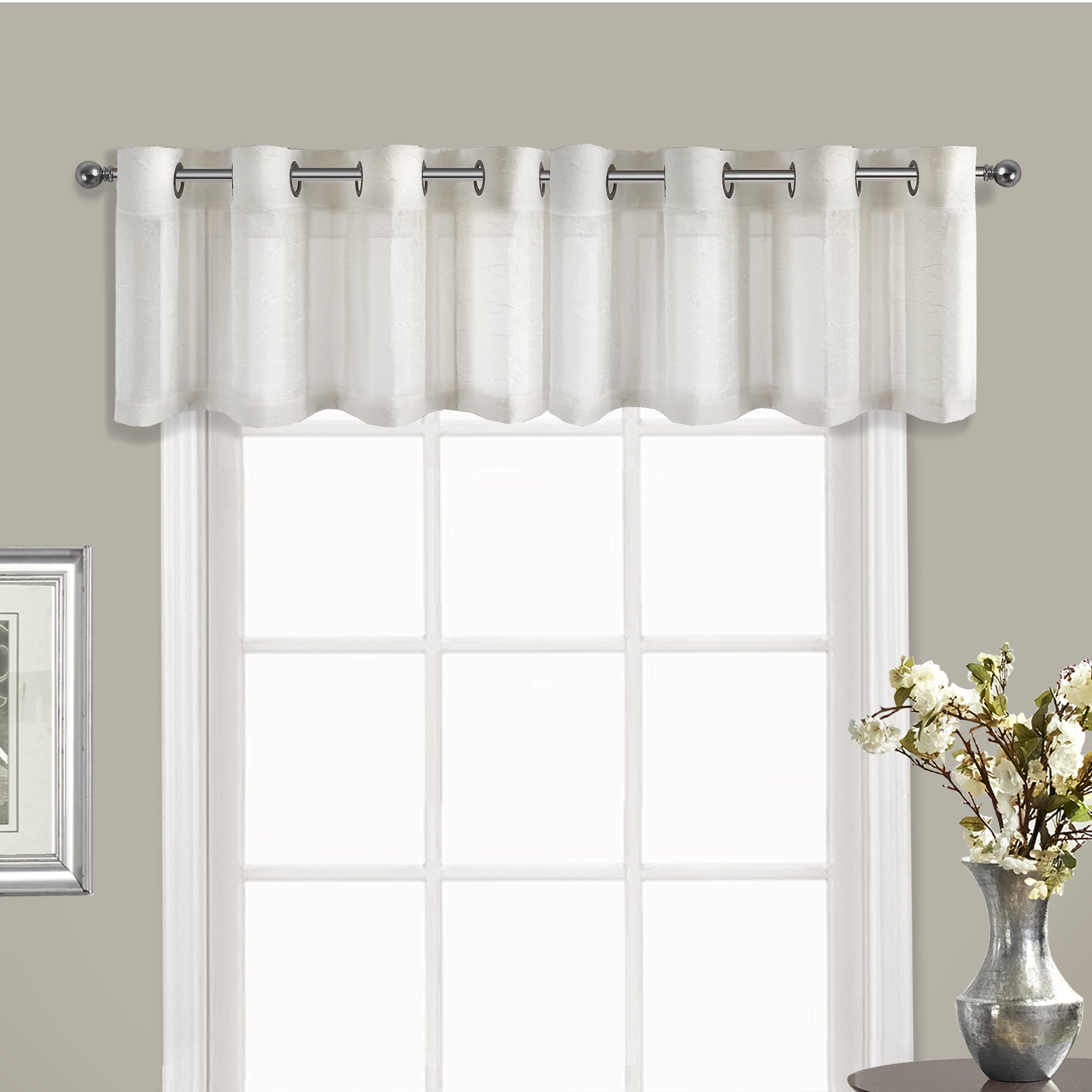 Voile Valance Part - 18: Shop Luxury Collection Venetian Crushed Voile Coordinating Grommet-top  Curtain Valance - Free Shipping On Orders Over $45 - Overstock.com -  12849075