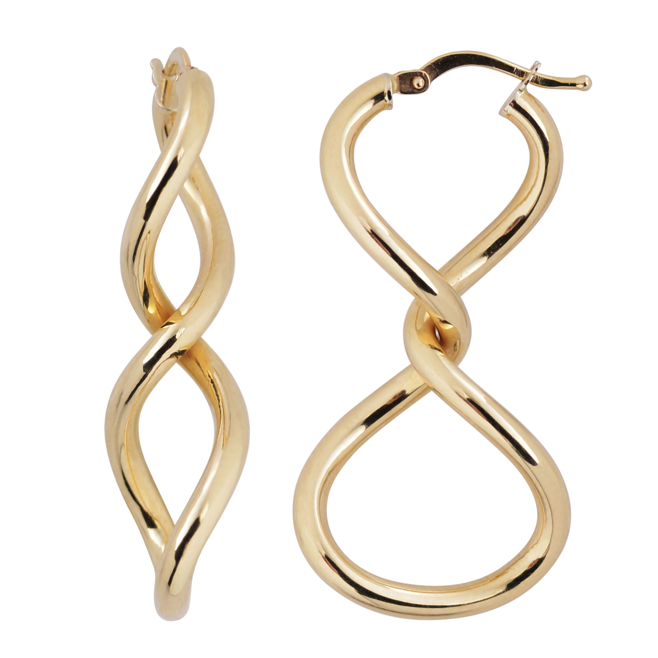 nuovo italian com earrings oval gold bold r jewelry c n oro fine qvc hoop