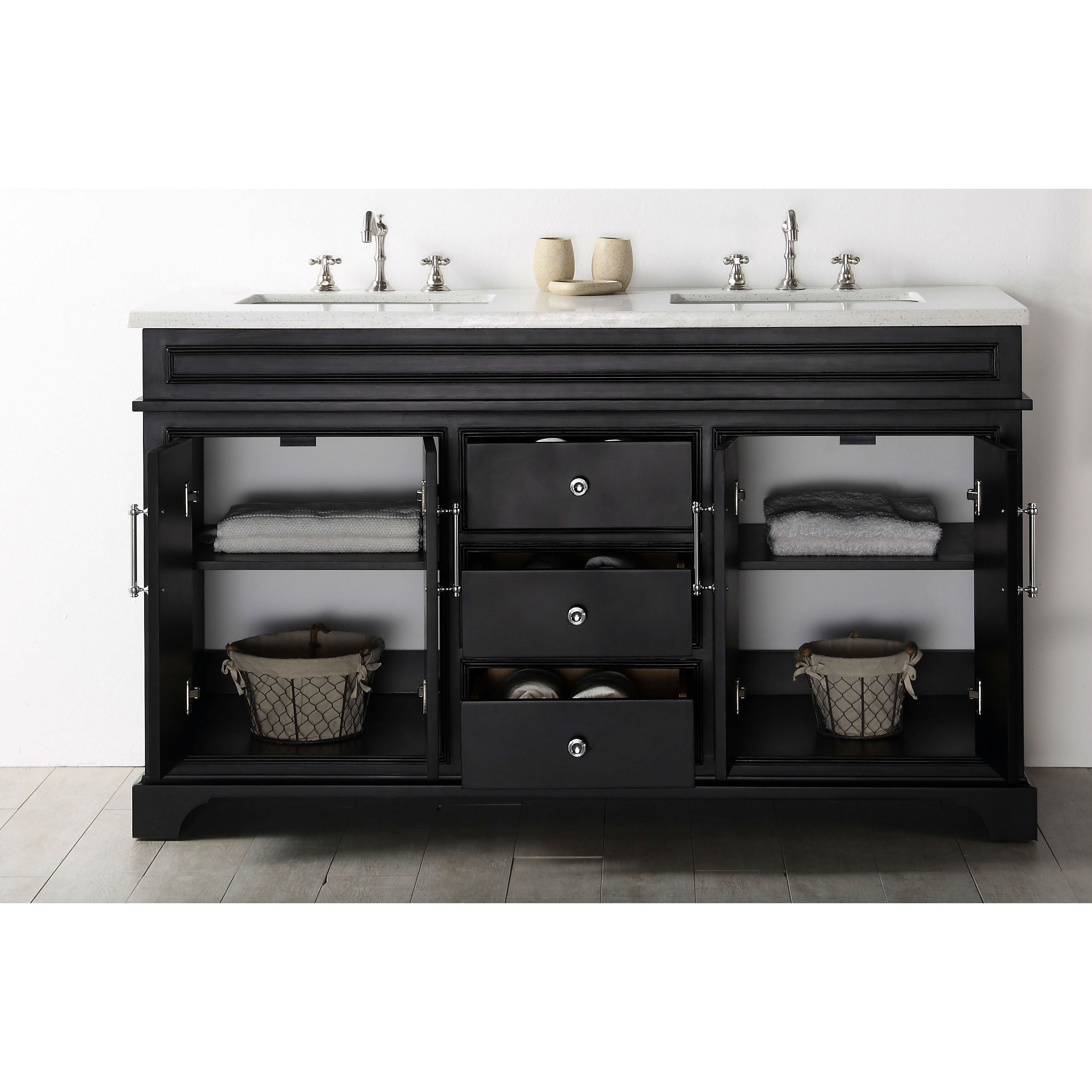 Legion Furniture Espresso Wood 60-inch Vanity with Quartz Top - Free ...