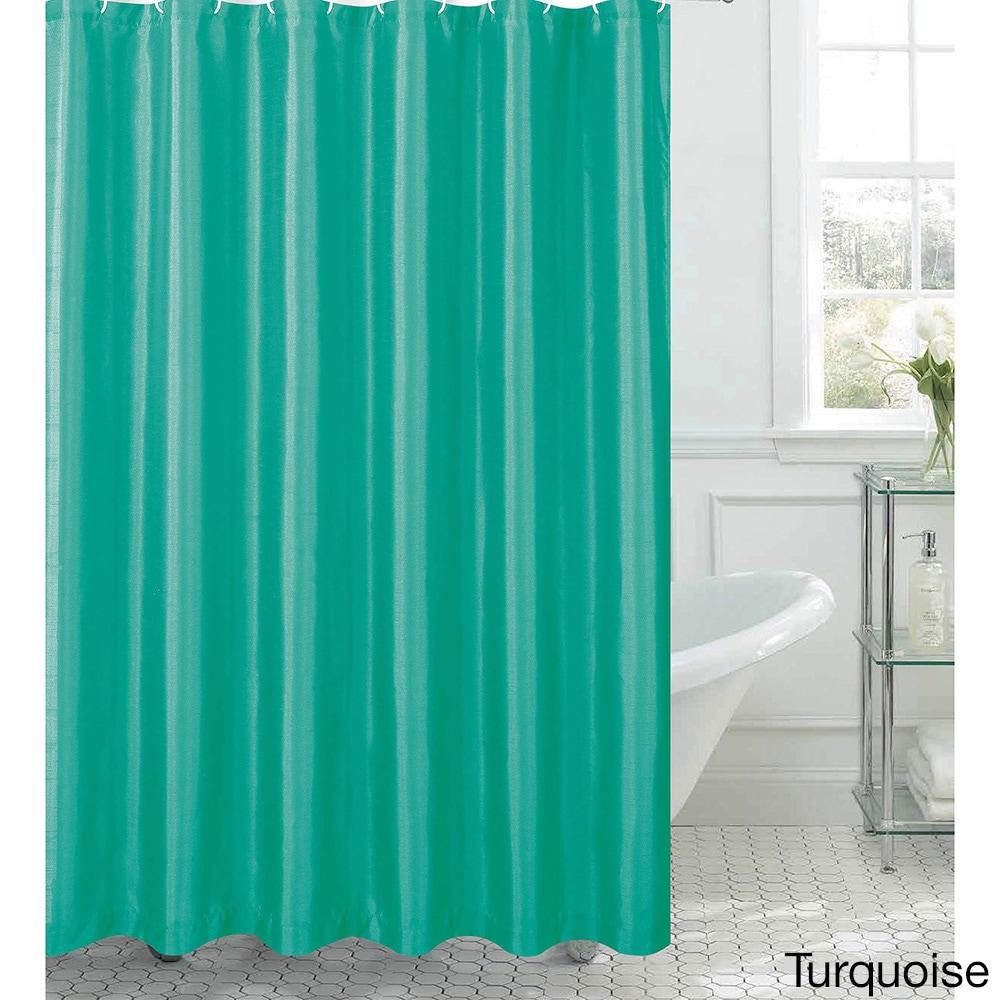 Shop Jane Faux Silk Shower Curtain w/ 12 Color Coordinating Metal ...
