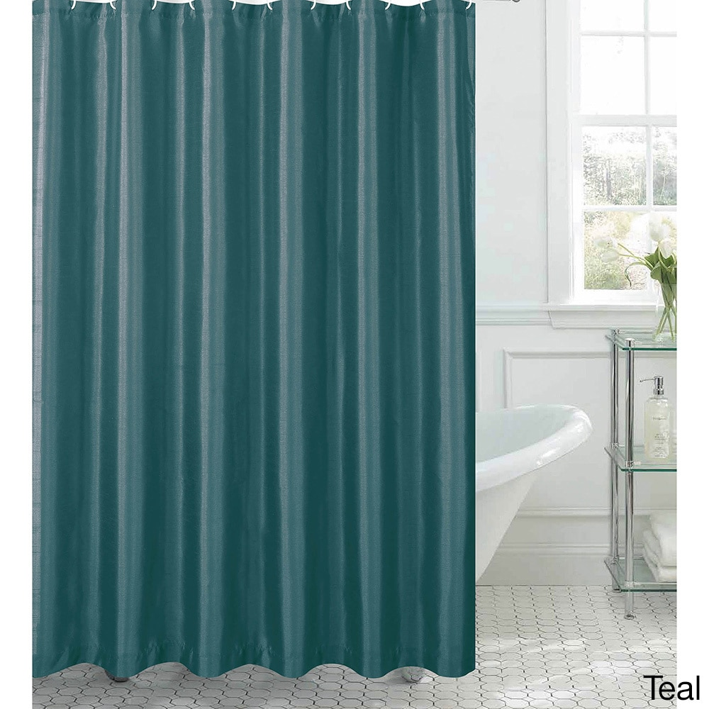 Shop Jane Faux Silk Shower Curtain W 12 Color Coordinating Metal Rings