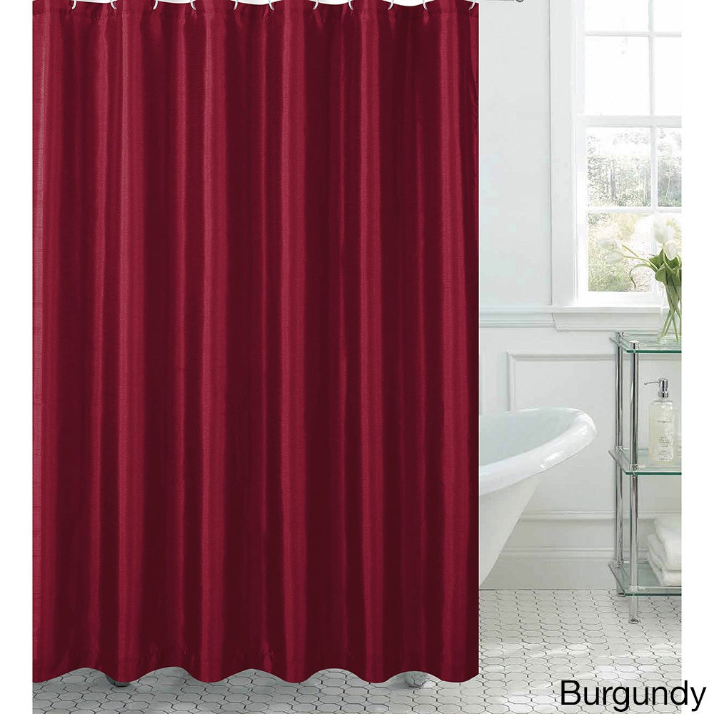 Jane Faux Silk Shower Curtain w/ 12 Color Coordinating Metal Rings ...