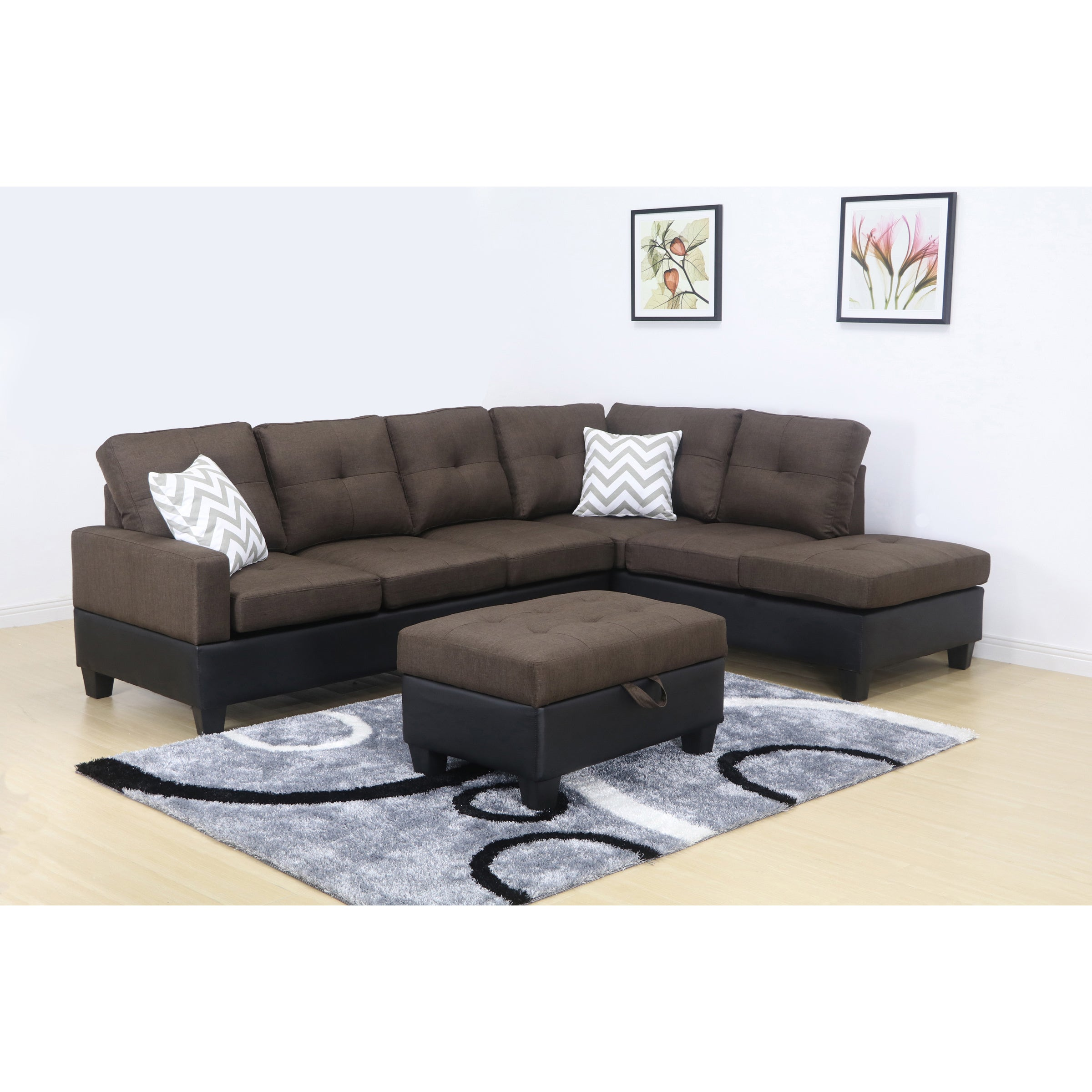 Shop charlie brown linen sectional sofa with storage ottoman free shipping today overstock com 12853607