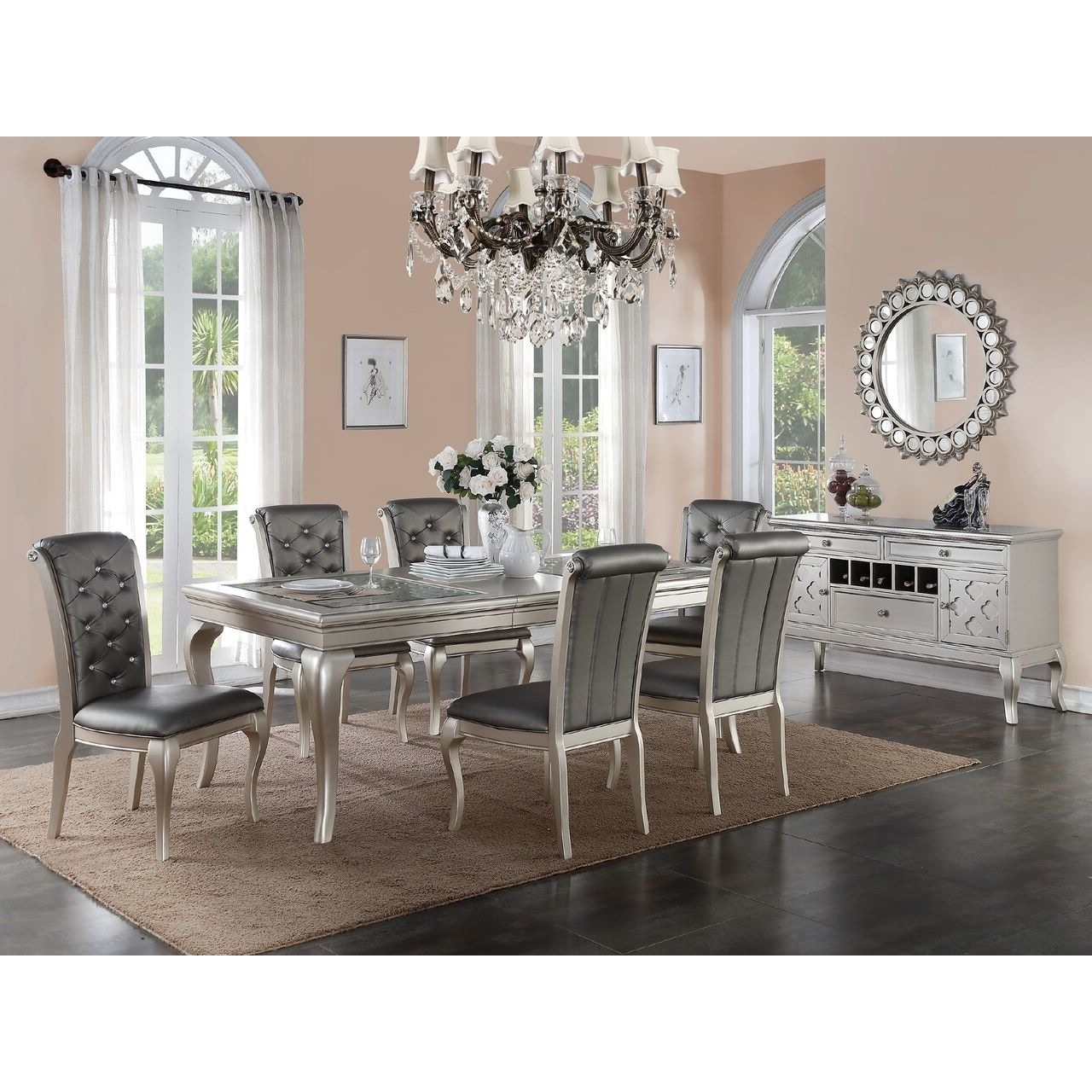 Bermington Silver Wood And Fabric Dining Chairs (Set Of 6)   Free Shipping  Today   Overstock   19617088