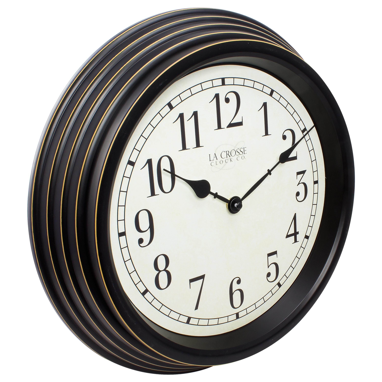 La Crosse Clock 404 2638 15 Inch Round Brown Antique Analog