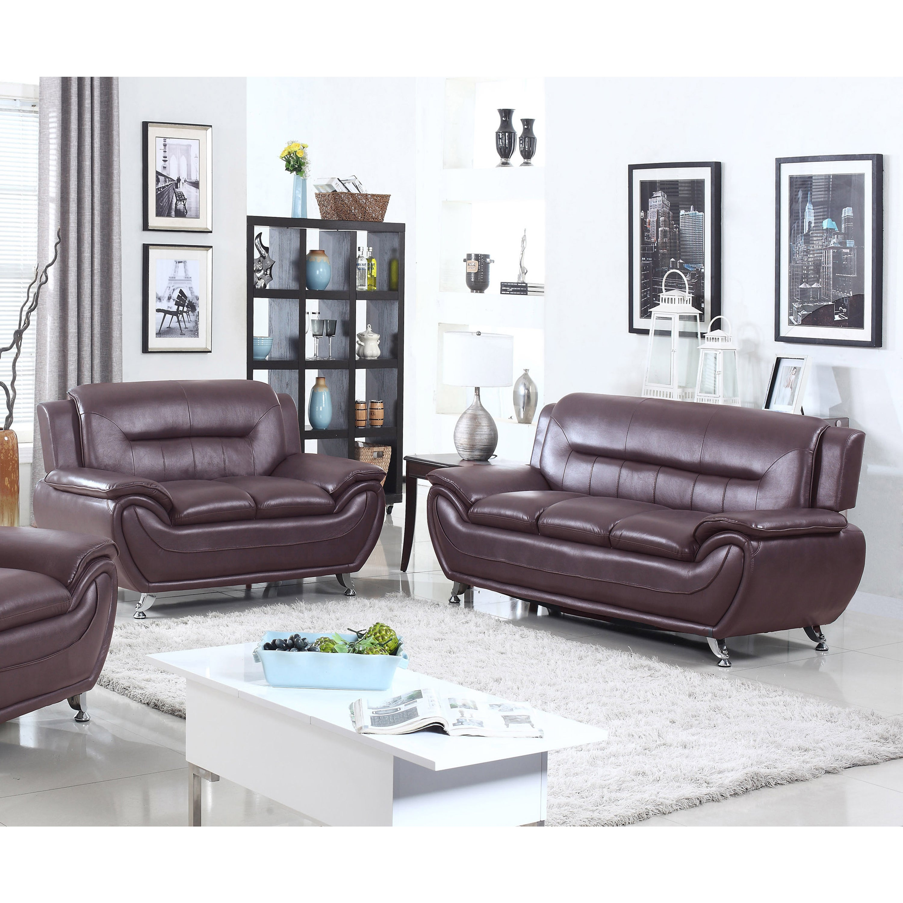 Shop Alice Faux Leather Modern Sofa and Loveseat Set- 2 Piece - Free ...