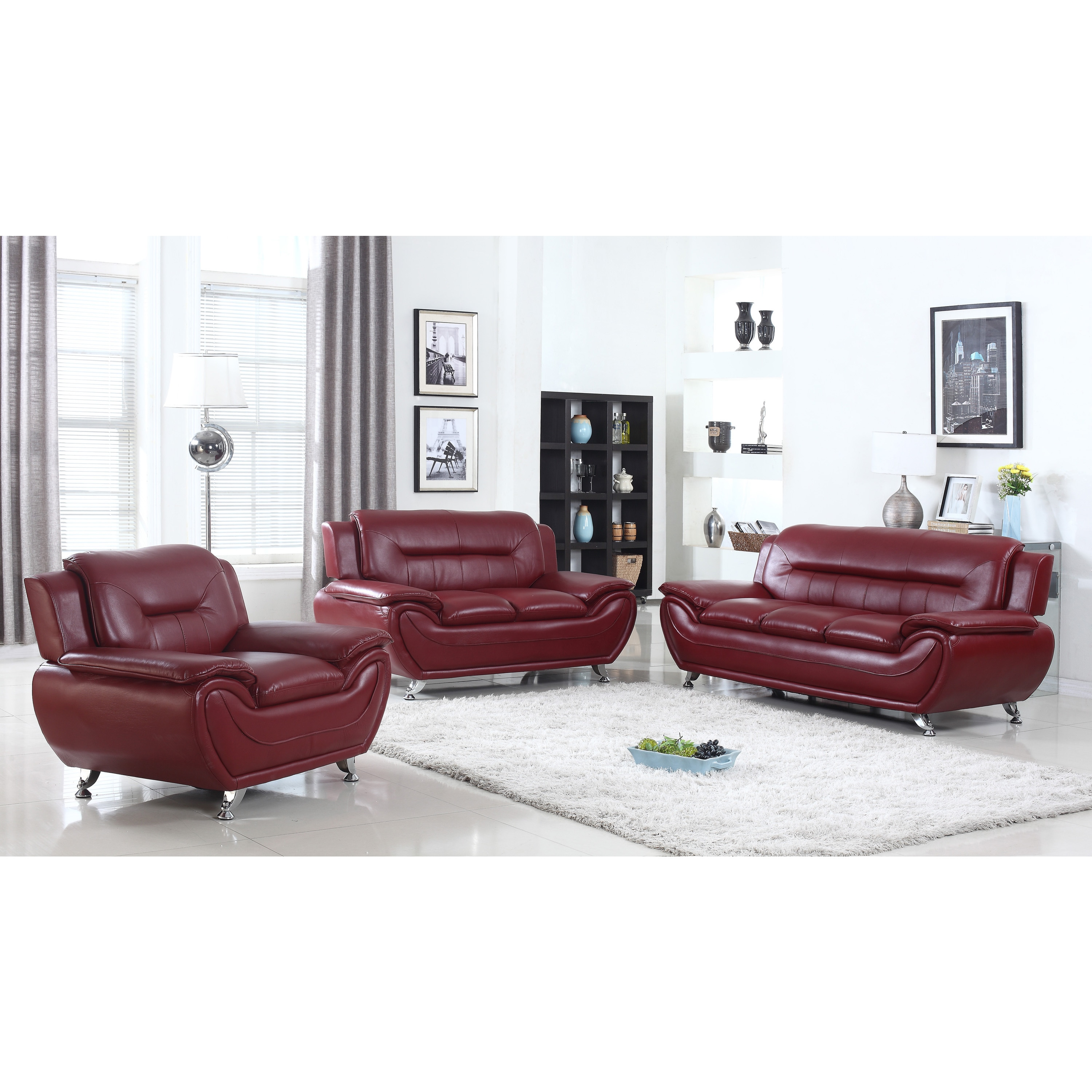 Alice Faux Leather Modern Living Room set- 3 Piece - Free Shipping ...