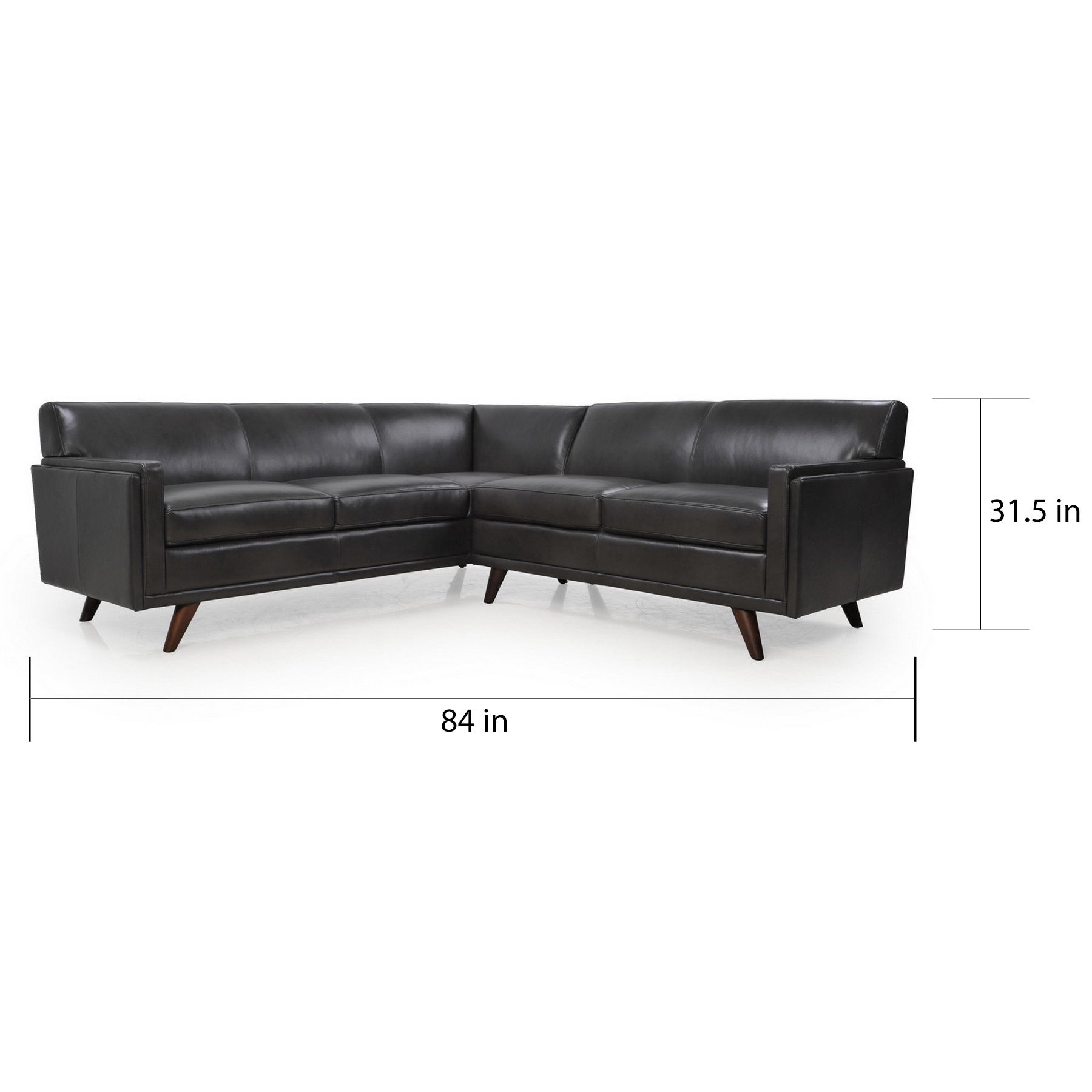 4f214898a5d4 Shop Milo Grey Full Leather Mid-Century Sectional Sofa - Free Shipping  Today - Overstock - 12861290