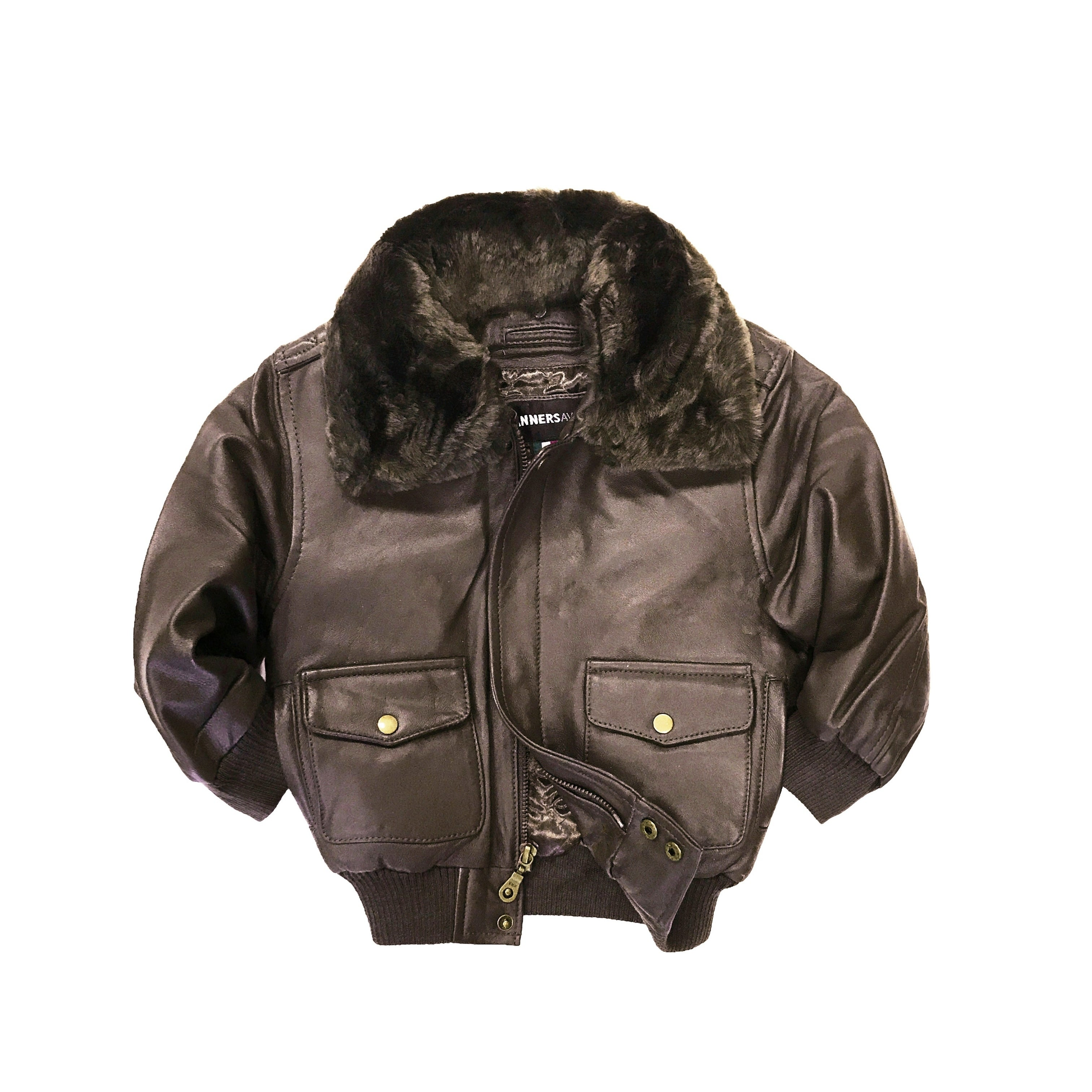 96326658c356 Shop Brown Kid s Genuine Leather Pilot Jacket - Free Shipping On ...