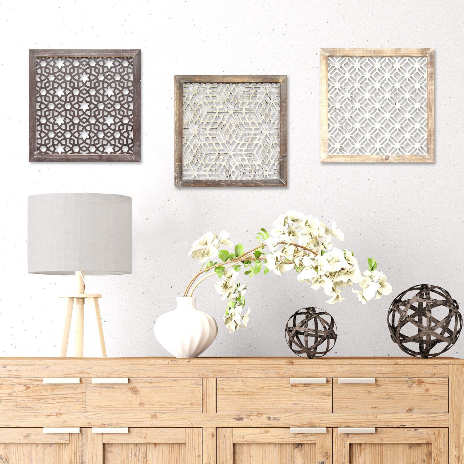 Stratton Home Decor Distressed Grey Wood Framed Laser Cut Metal Wall Art    Free Shipping On Orders Over $45   Overstock   19623638
