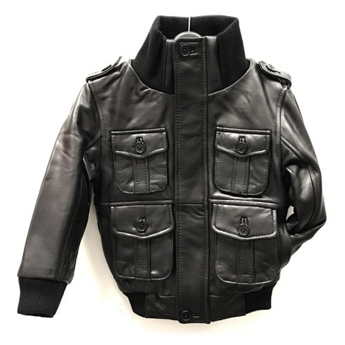 42c7cc93e07 Shop Kid s Black Genuine Lamb Leather Bomber Jacket - Free Shipping Today -  Overstock - 12861556