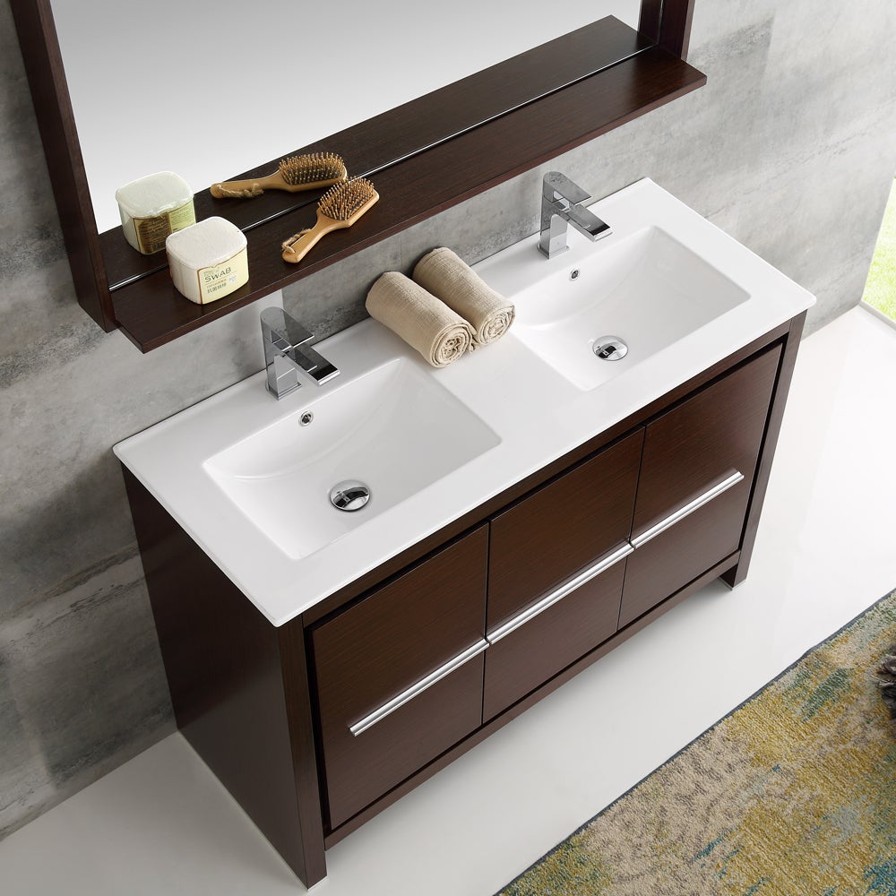 Fresca Allier Wenge Brown Brass 48-inch Modern Double Sink Bathroom ...