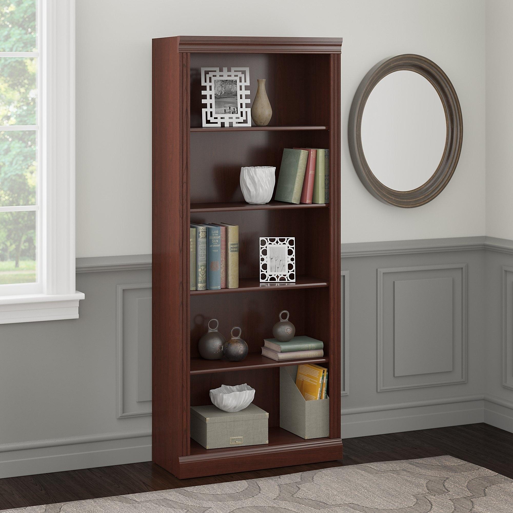 Bush Furniture Saratoga 5 Shelf Bookcase In Harvest Cherry Free Shipping Today 12861593