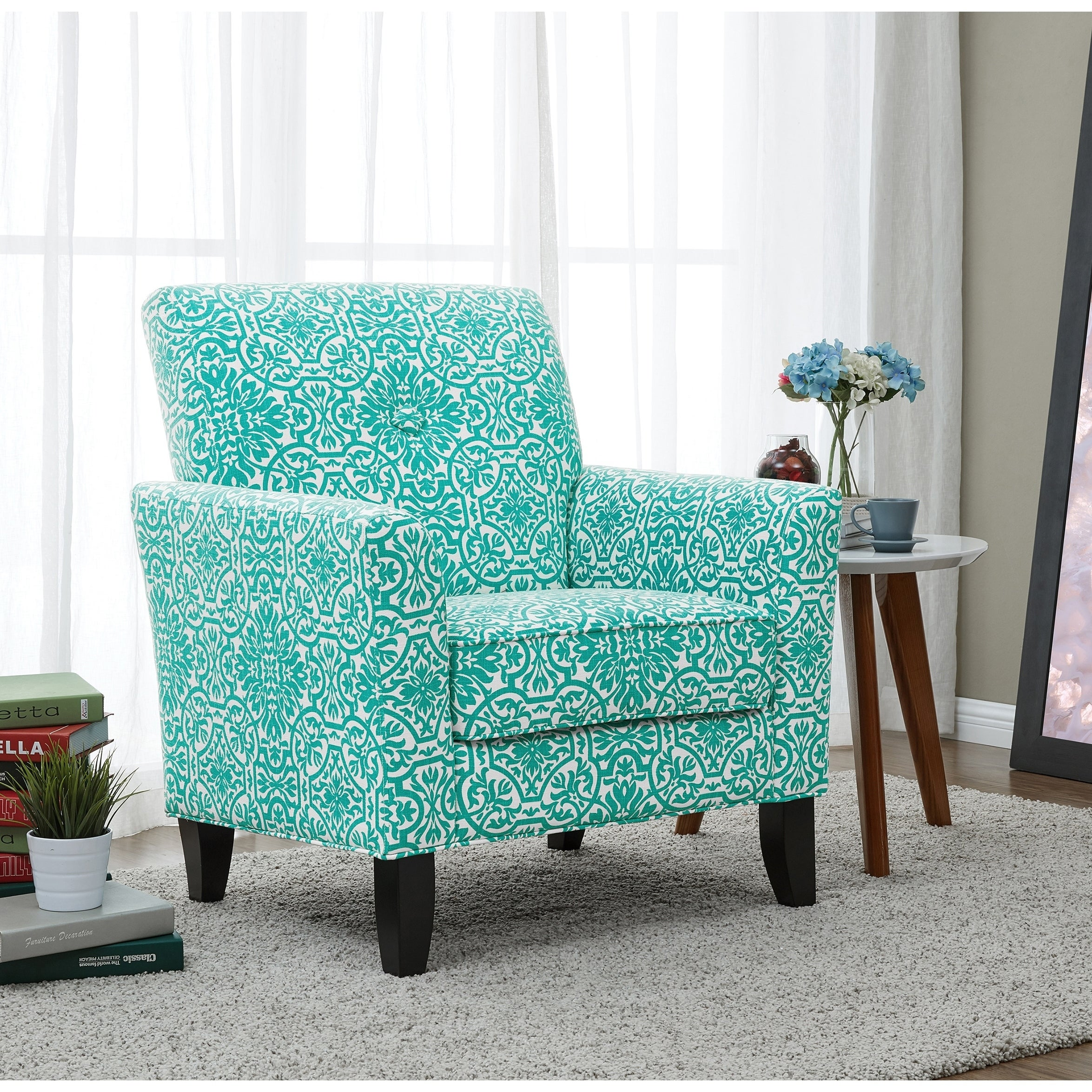 Shop Handy Living Alex Turquoise Damask Arm Chair - On Sale - Free Shipping Today - Overstock.com - 12863436 & Shop Handy Living Alex Turquoise Damask Arm Chair - On Sale - Free ...