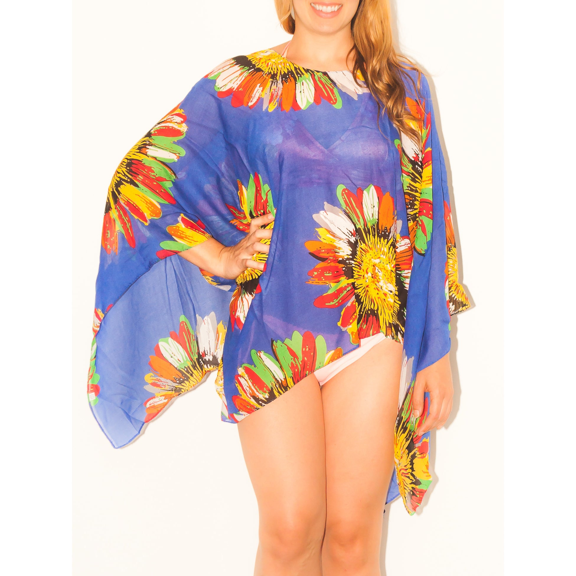 0245d4769ed7 Imperial Home Women's Multicolor Rayon Sunflower Sarong Beachwear Wrap