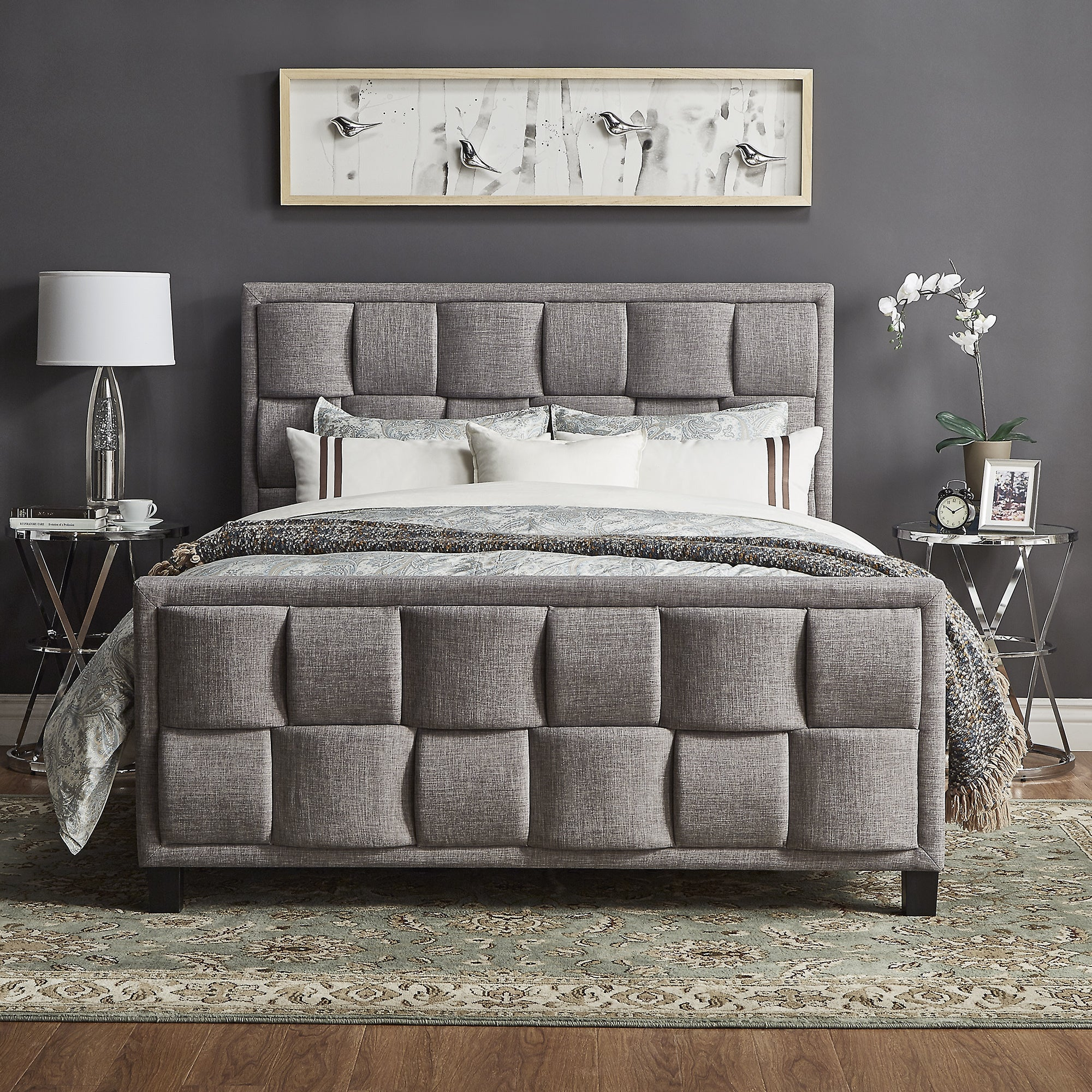 Porter Linen Woven Upholstered Platform Bed With Footboard By INSPIRE Q  Classic   Free Shipping Today   Overstock   19625934