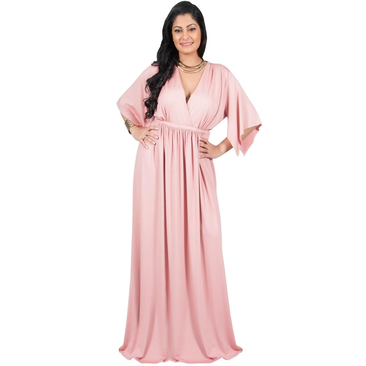 79521820717 Adelyn & Vivian Women's Plus-size Short Split-sleeve Empire-waist V-neck  Long Maxi Dress