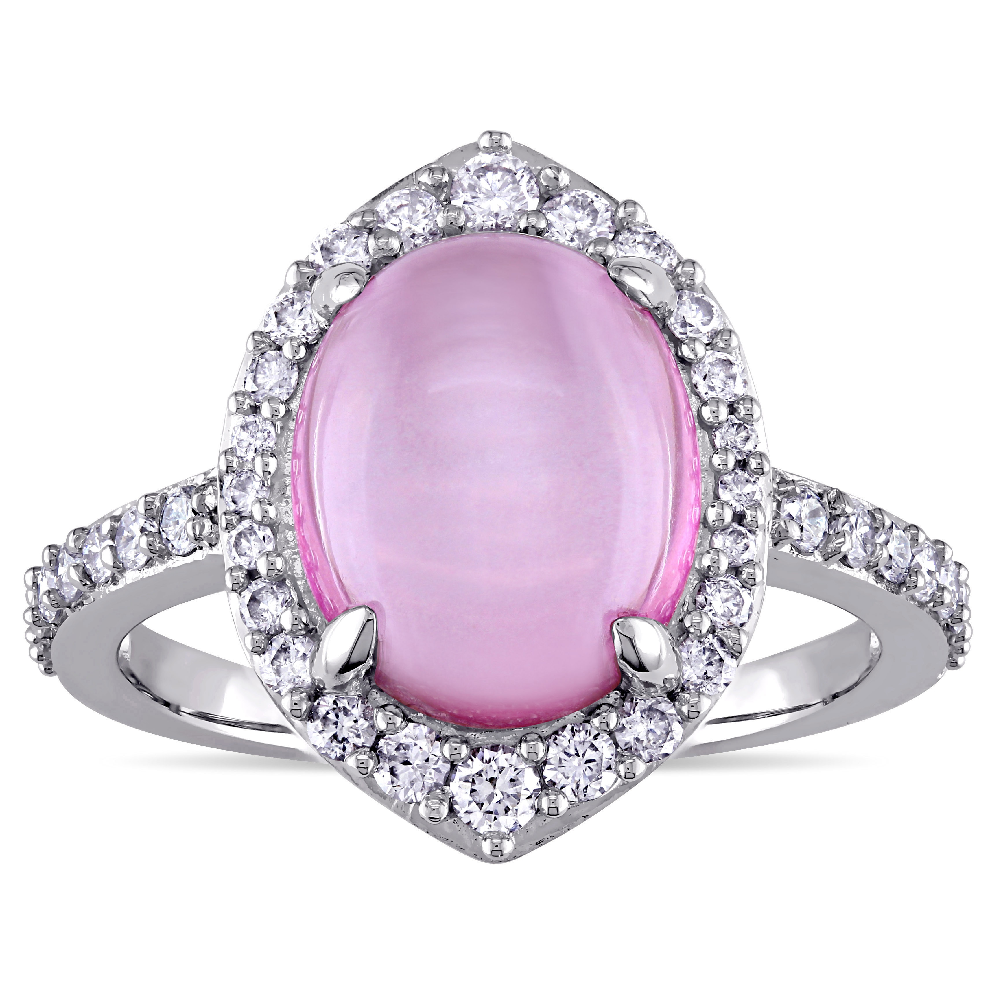 Miadora Signature Collection Oval-cut Pink Topaz and 1/2ct TDW ...