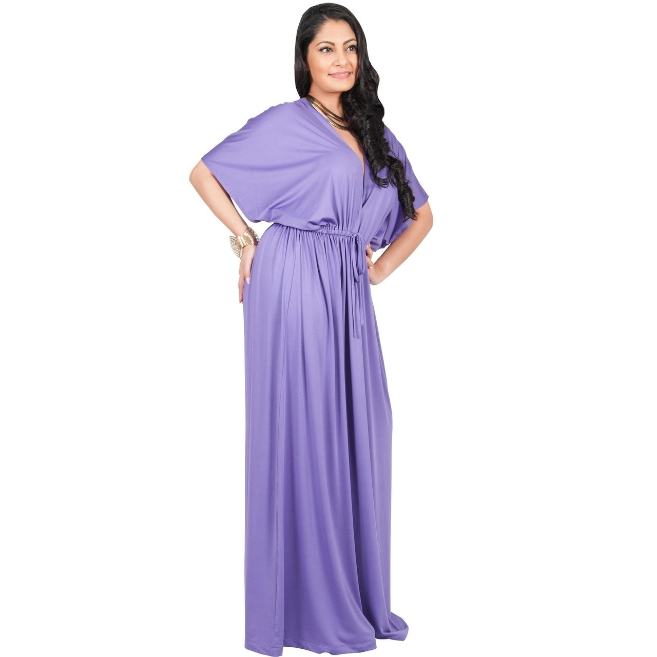 1901bb7ec4 Shop Adelyn   Vivian Women s Plus-size Long V-neck Short-sleeve Kimono-style  Maxi Dress Casual Gown - Free Shipping Today - Overstock - 12873011