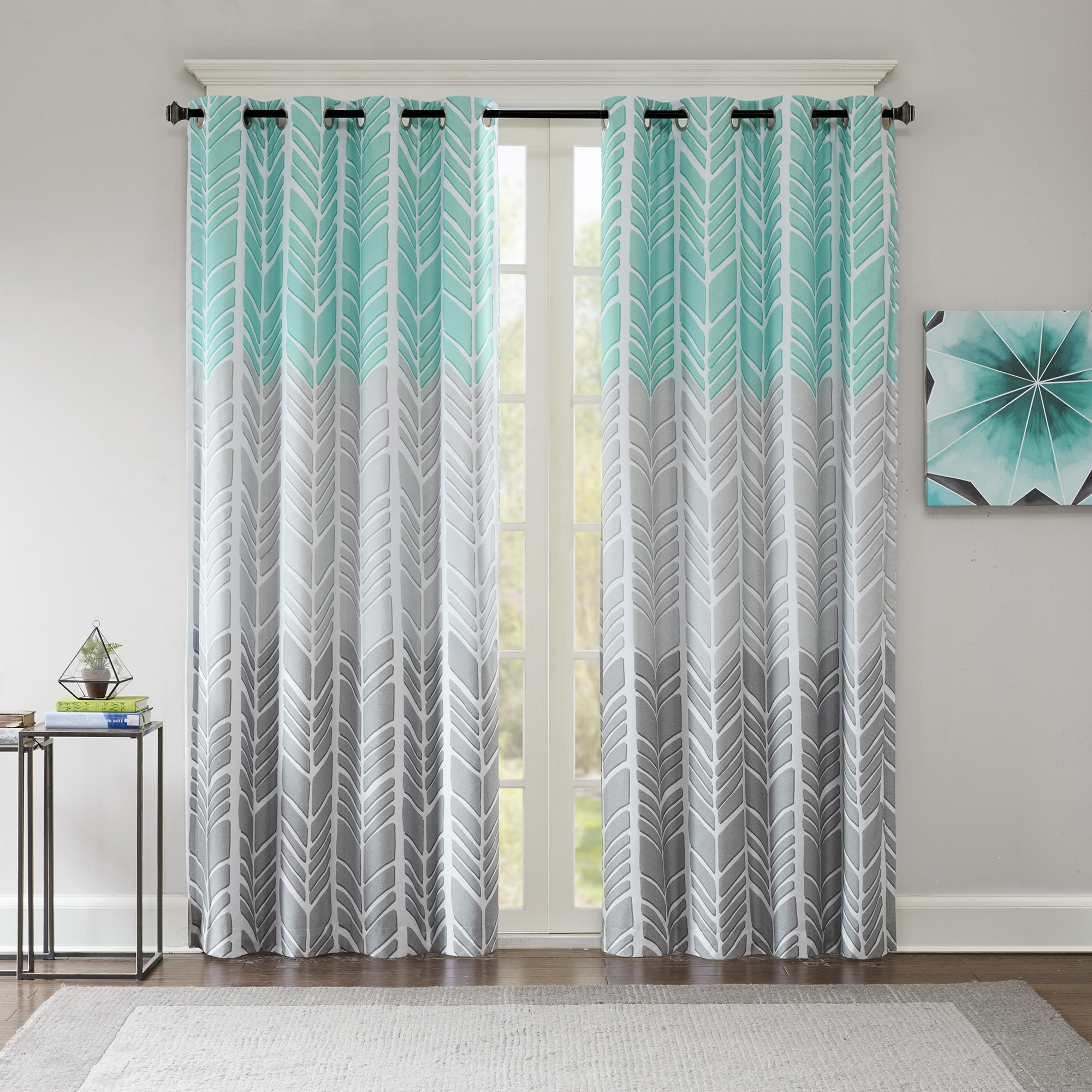 Shop Intelligent Design Kennedy Printed Lined Blackout Window Curtain