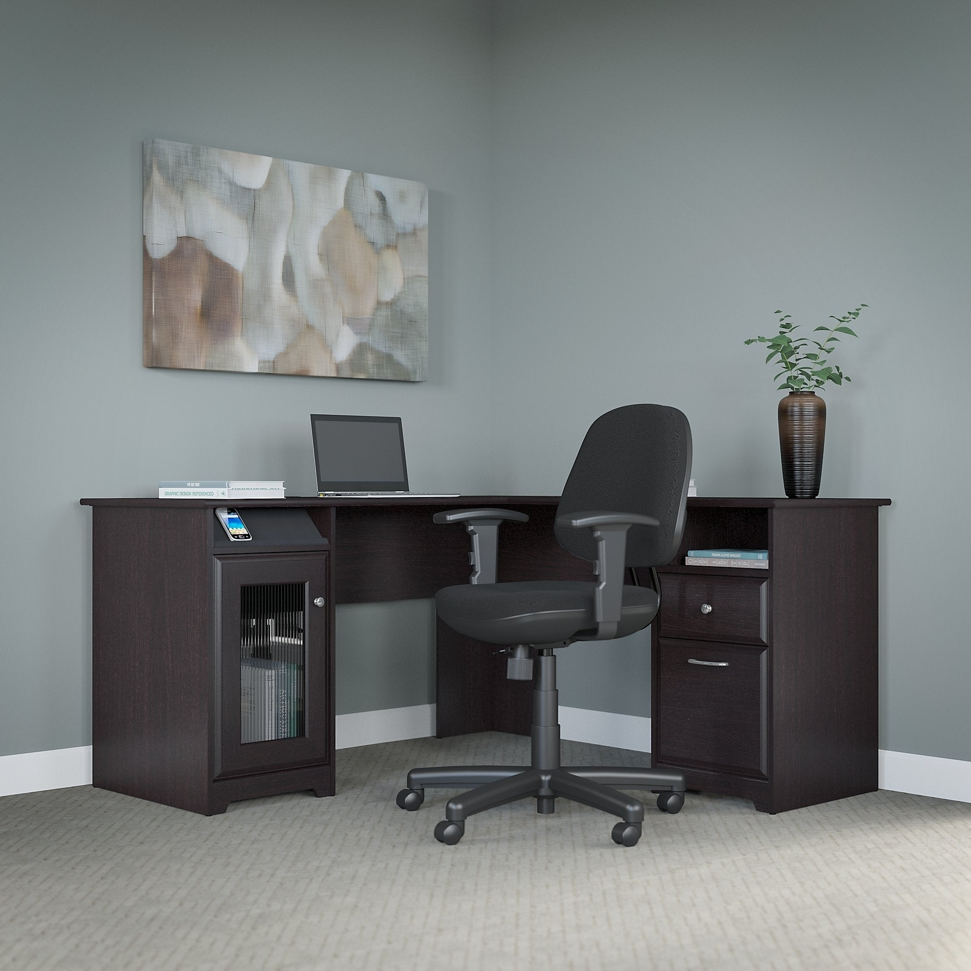 Genial Shop Bush Furniture Cabot L Shaped Desk And Office Chair In Espresso Oak    Free Shipping Today   Overstock.com   12874853