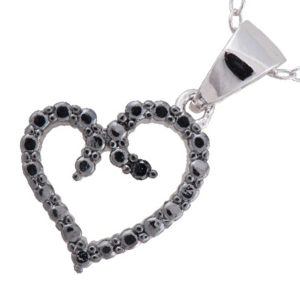2a8ab5493ba69 Black Rhodium-plated Sterling Silver Diamond Accent 18-inch Heart Pendant  Necklace