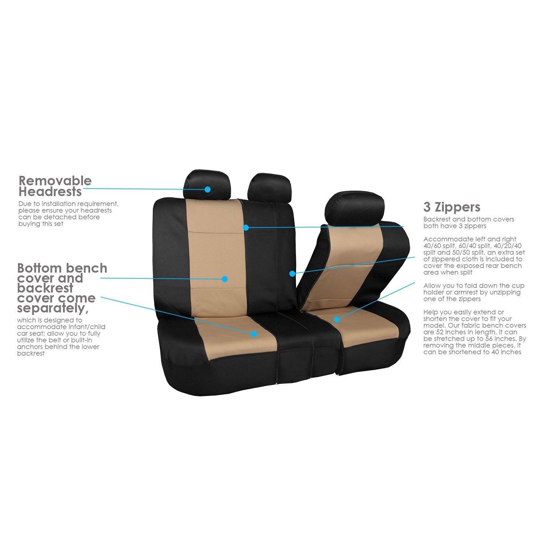 FH Group Neoprene Water Resistent Seat Covers Beige Full Set
