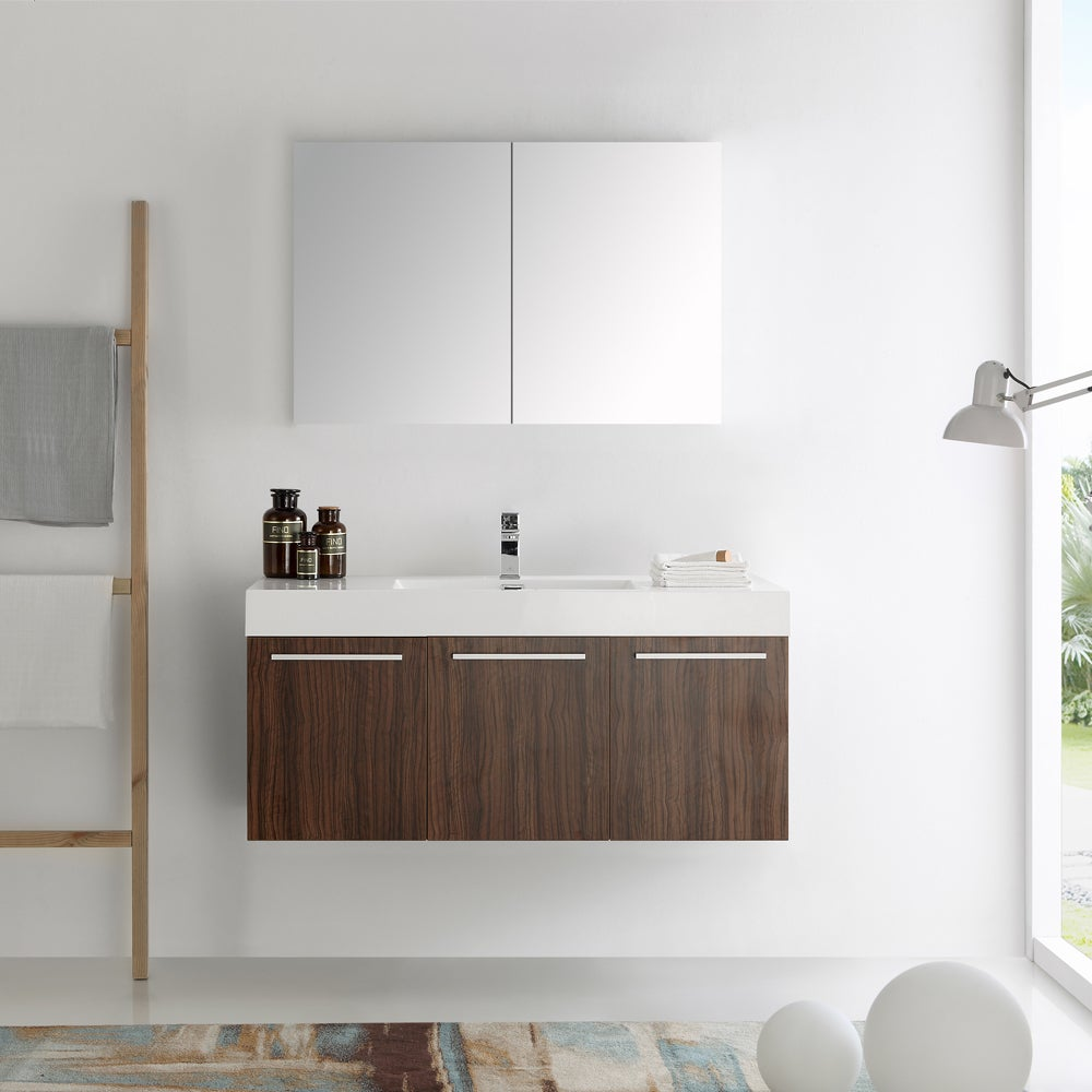 Fresca Vista Walnut 48-inch Wall Hung Modern Bathroom Vanity with ...