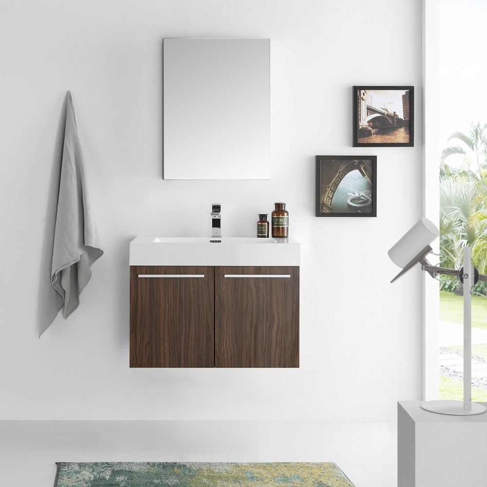 Shop Fresca Vista Walnut/Chrome MDF/Aluminum/Glass 30-inch Wall-hung ...