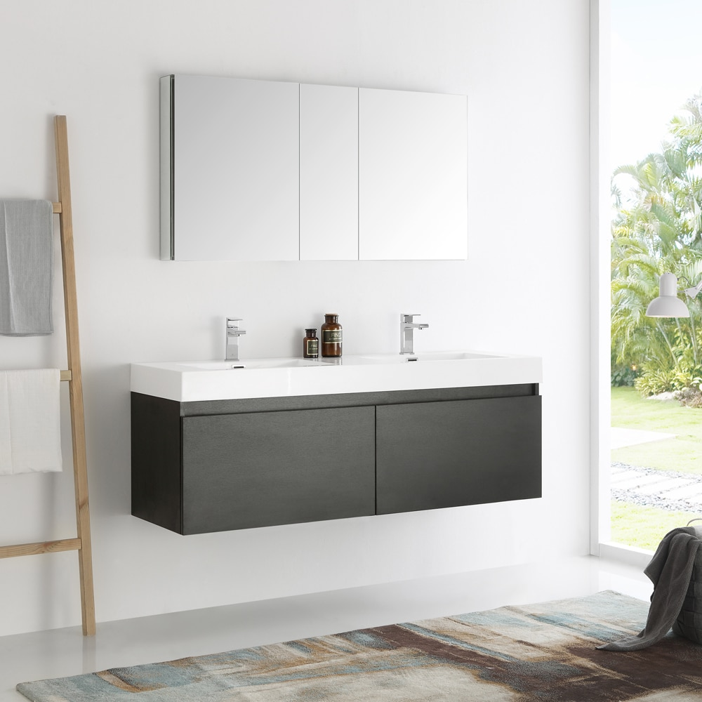 Fresca Mezzo Black 60 Inch Wall Hung Double Sink Modern Bathroom Vanity With Medicine Cabinet Free Shipping Today 19635993